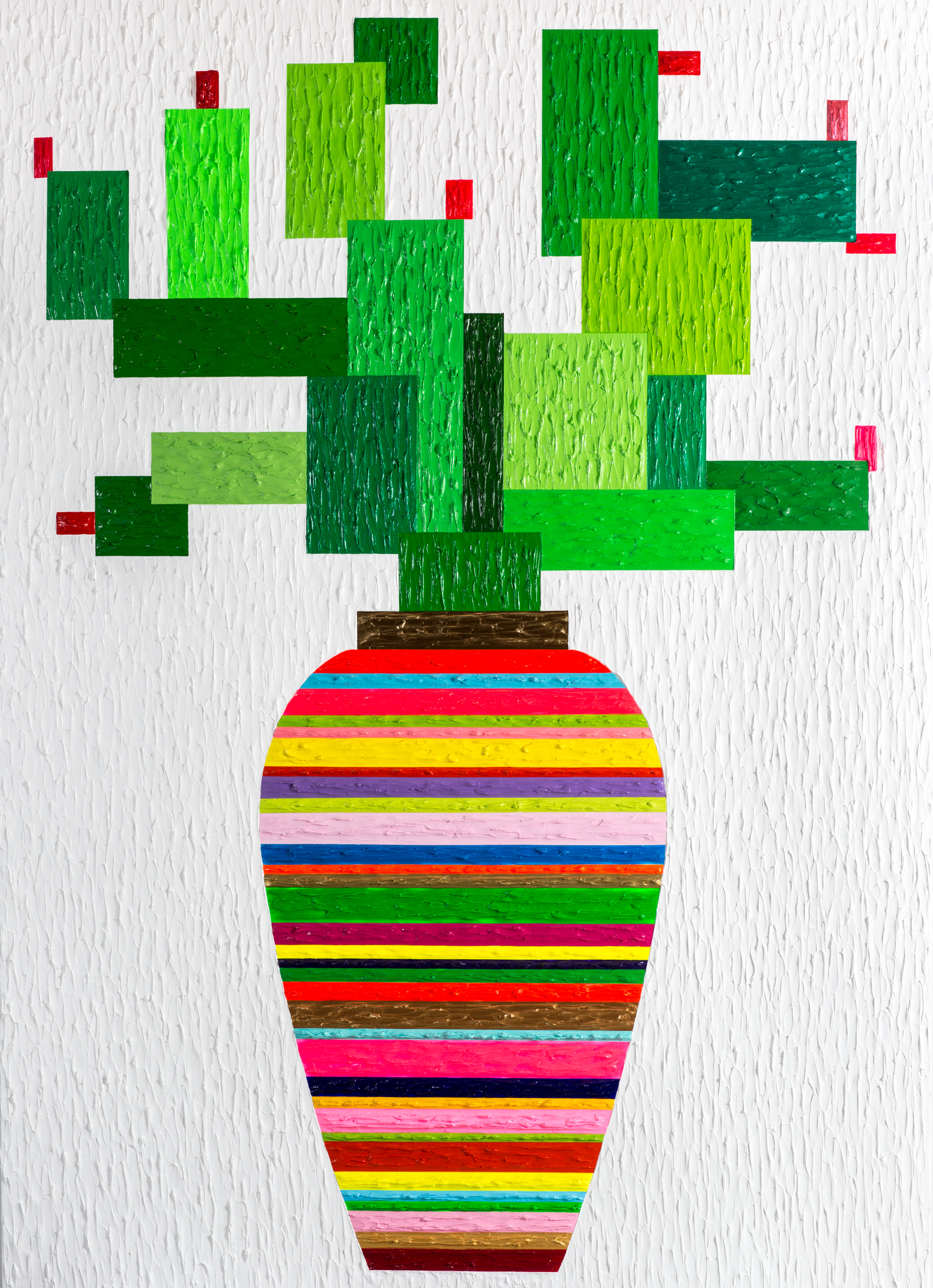 Zhenya Xia,  Cactus , 2015, Acrylic on canvas, 84h x 60w in, Courtesy HG Contemporary