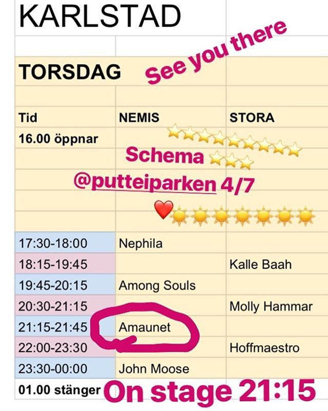 On stage 21:15 4/7 @putteiparken in Karlstad! Come on out! We promise 2 new fresh tunes ⭐️⭐️ /Amaunet ⭐️ ⭐️ ⭐️ ⭐️ ⭐️ ⭐️ #newmusicalert #insta #festival #2019 #pop #independentartist #artist #rock #love #show #live #liveshow #upandcomingartist #upandcoming #tour #summer #summertour #karlstad #värmland #sweden #sverige #newmusic #music