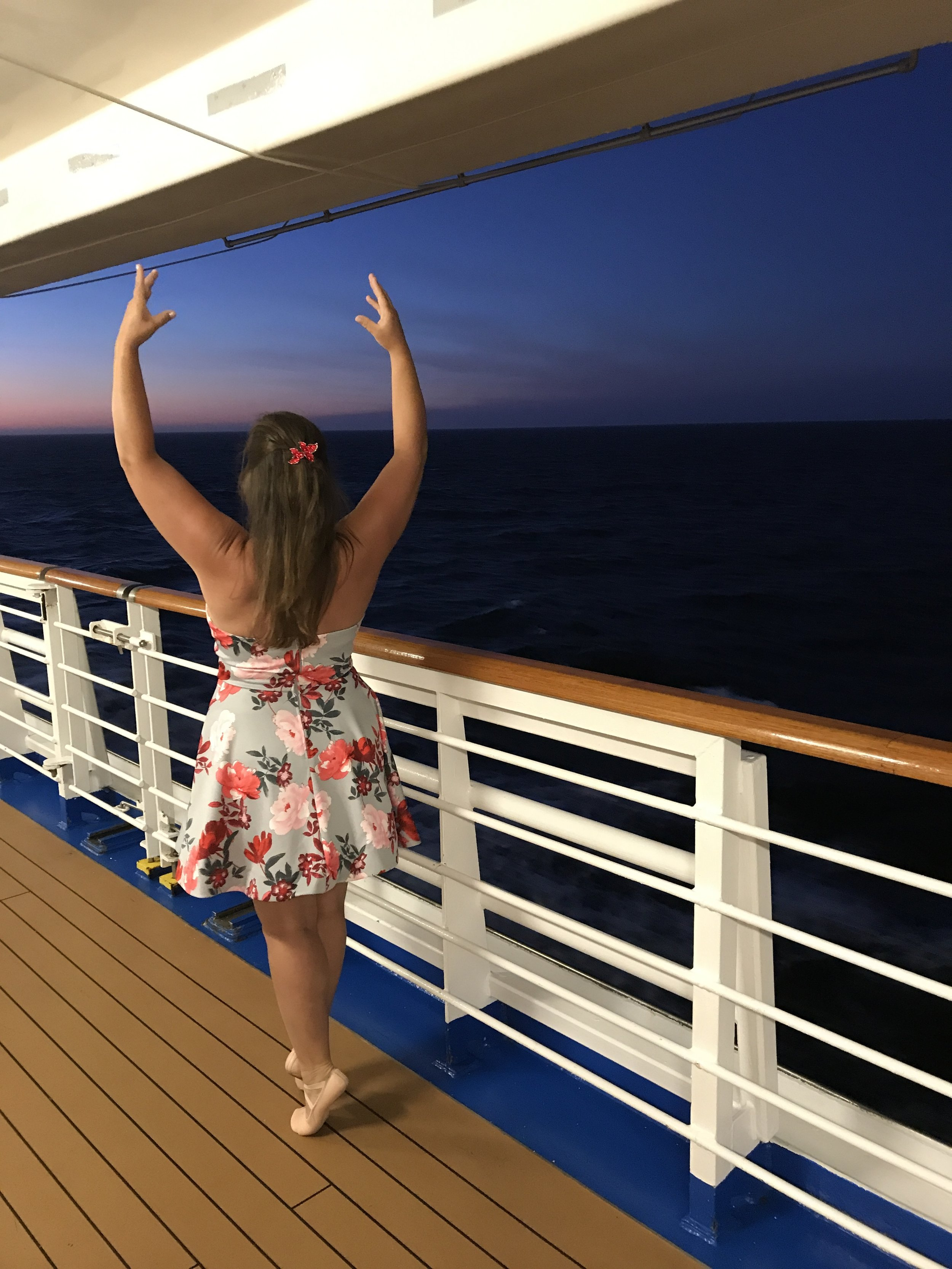 Jayme on a cruise ship