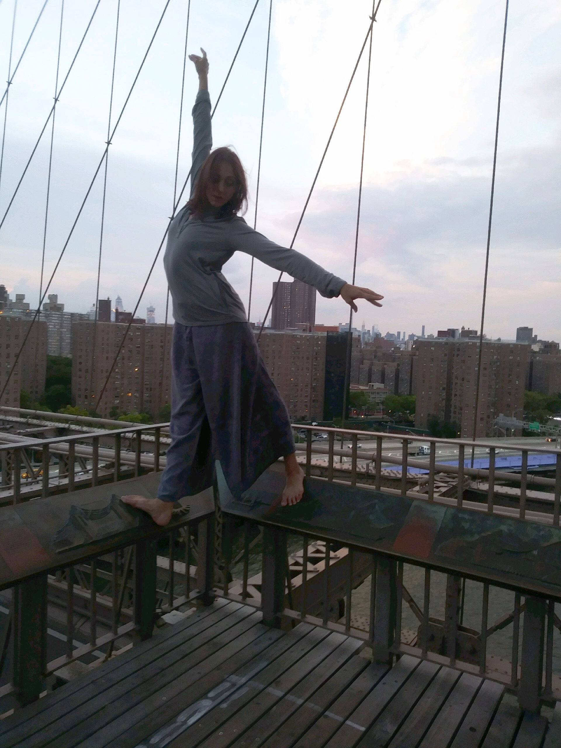 Leah on the Brooklyn Bridge, NYC