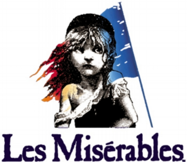 "Image description: Graphic logo. White background with black and white etching of young girl with wide eyes and tattered clothes, viewed from the waist up. French flag is super imposed behind her. Below girl, navy blue text reads: ""Les Miserables""."