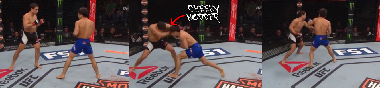 An offensive nodder, Cejudo comes in behind the top of his head and then starts swinging, dropping Benavidez.