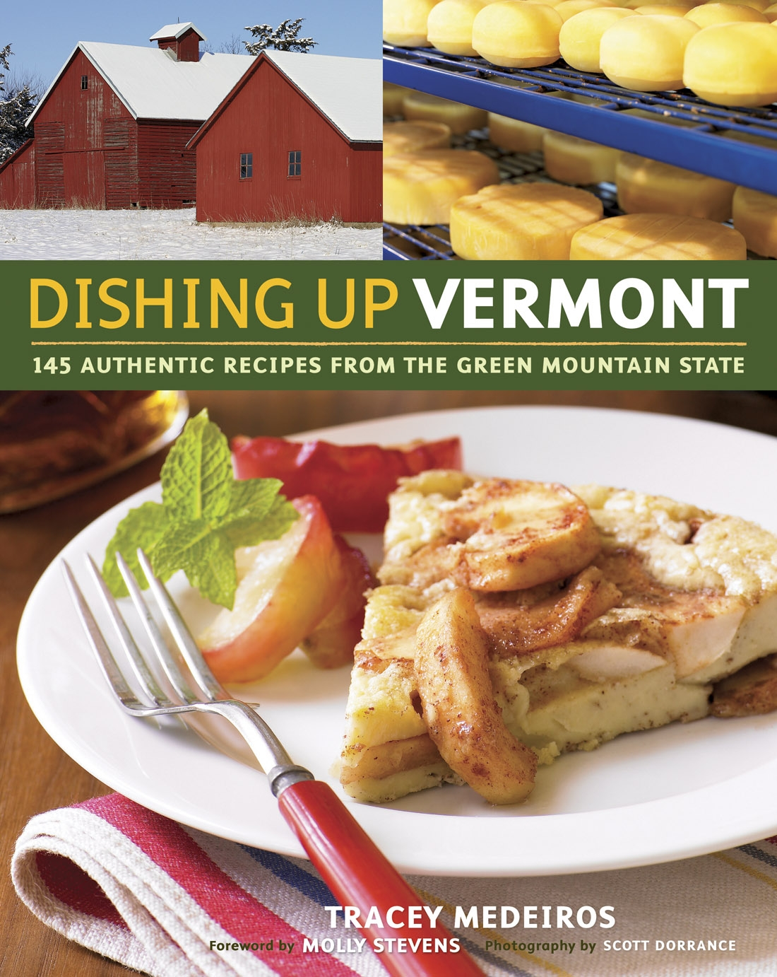 Dishing Up Vermont    The sharp tang of cheddar cheese and the earthy sweetness of maple syrup are Vermont's signature flavors. But they're just the tip of the Vermont food pyramid. Dairy farms support cheese production that goes far beyond classic cheddars. Farmers coax an impressive variety and quantity of produce from land that's buried under snow for many months of the year. Game animals, rabbits, and traditional livestock thrive on small family farms where the farmers are committed to using sustainable, organic methods.  Taking advantage of this wonderful food are innovative chefs trained to bring out the best in their ingredients, B&B owners who take pride in their robust country breakfasts, and the farmers themselves who love sharing the recipes that make their products shine.  Dishing Up Vermont , a collection of recipes from a broad range of cooks dedicated to sustaining and enriching local culinary traditions, celebrates the classic taste of the Green Mountain state with fresh interpretations of everything from blueberry pancakes sweetened with maple syrup to a savory tart made with onions, apples, and Grafton Cheddar.  This insider's view of Vermont cooking is rounded out with profiles of the people and places that make the state's food scene so exciting. Here are classically trained chefs, home bakers, farmers, winemakers, comfort-food cooks, beekeepers, orchard and sugar-shack owners, craft brewers, and all the other foodies who keep Vermont traditions alive while developing vibrant new flavor combinations that respect the integrity of the raw ingredients.   Storey Publishing, LLC   210 Mass MoCA Way   North Adams, MA 01247   Tel: (800) 827-8673   Fax: (800) 865-3429    Link to Amazon.com
