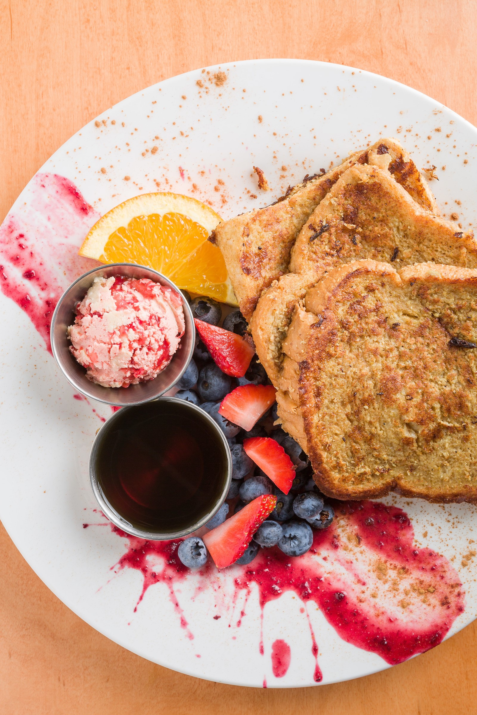 Coconut Banana French Toast with Strawberry Ginger Butter with Maple Syrup