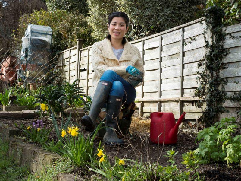Joyce enjoying her borrowed garden. What a fab idea!