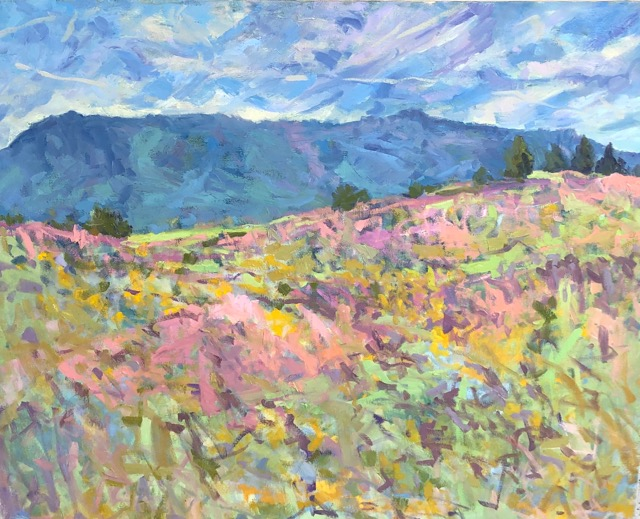 Pink Hill, Blue Mountain, Sky 30x36 SOLD