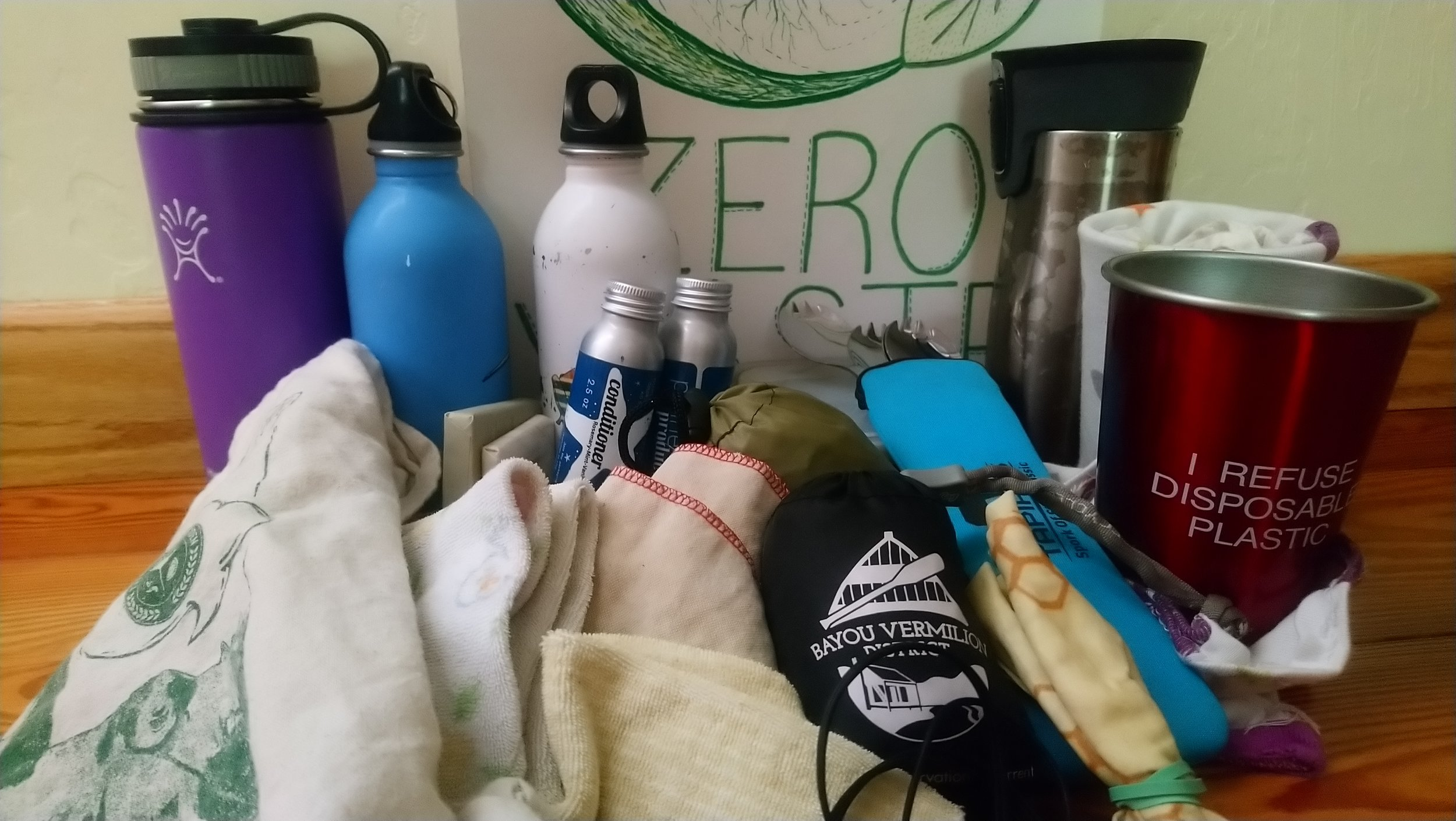 All our Zero Waste items we packed for our trip (not pictured is my husband's Klean Kanteen all metal water bottle)