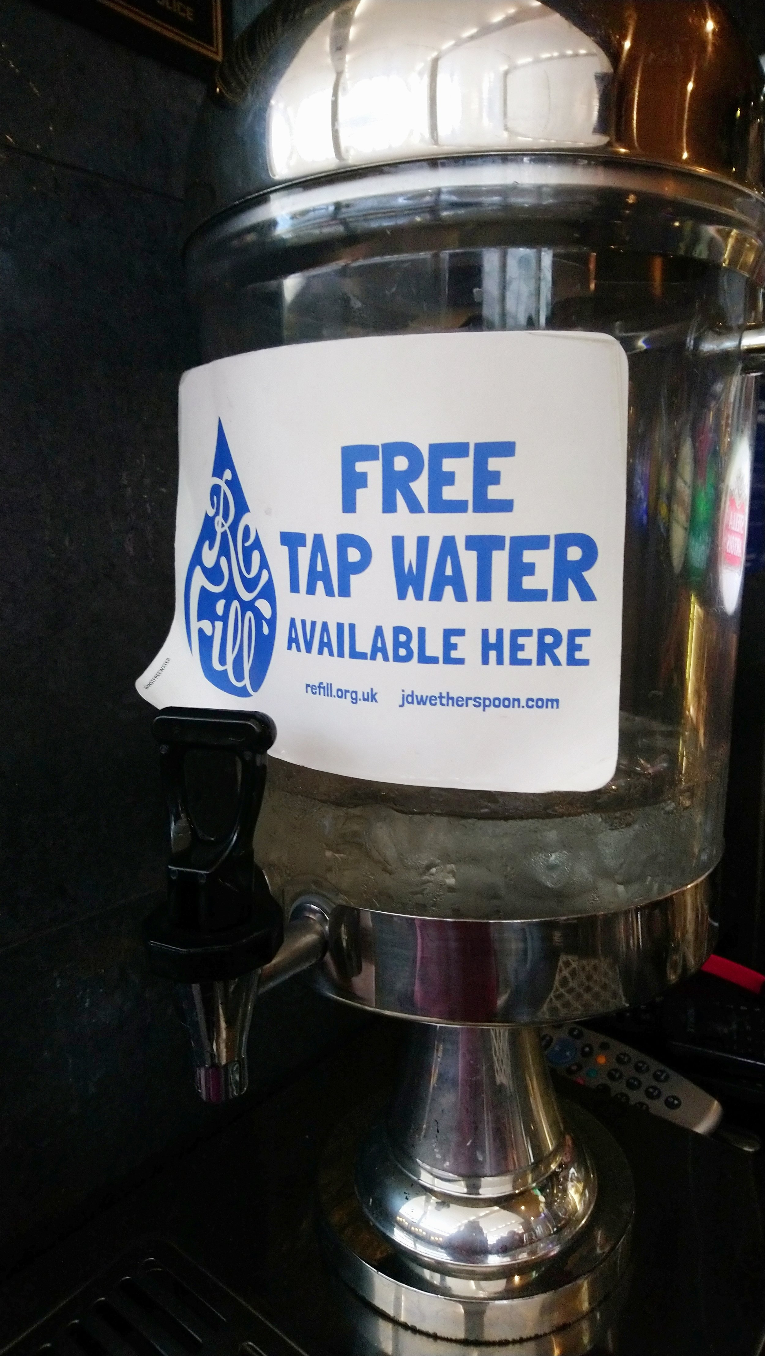Free tap water can be found via the ReFIll app in many places throughout England and Scotland