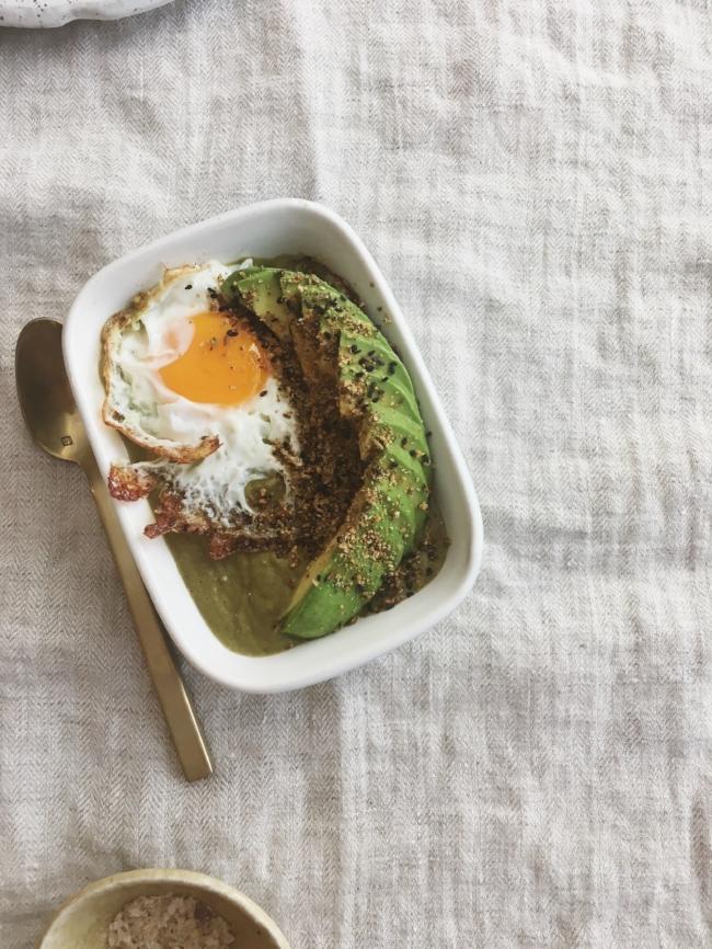Asparagus & bone broth soup with homemade dukkah