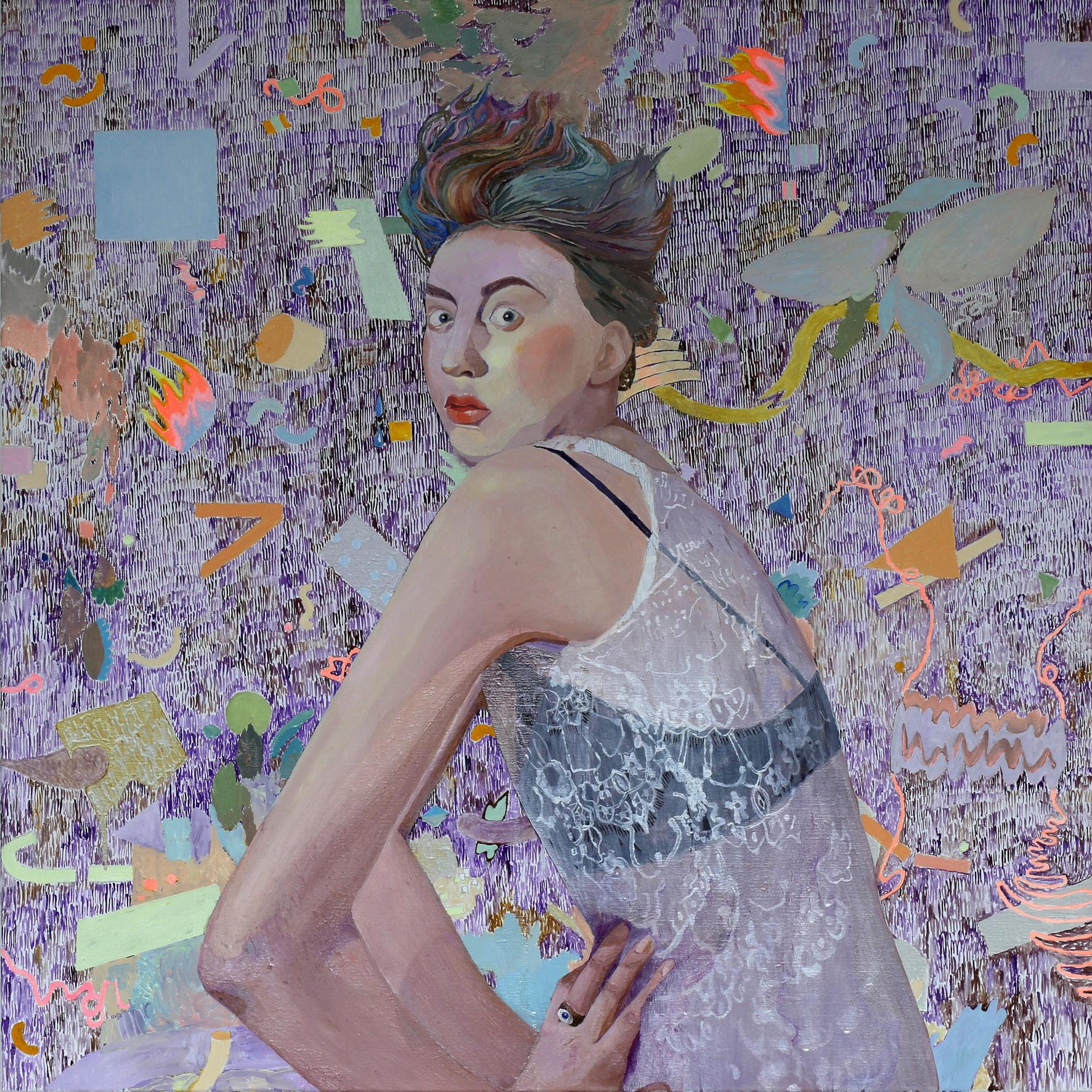 """High Court Thomas Wallner  """"Portrait of Ellen"""" 2018  oil on canvas  100x100cm"""