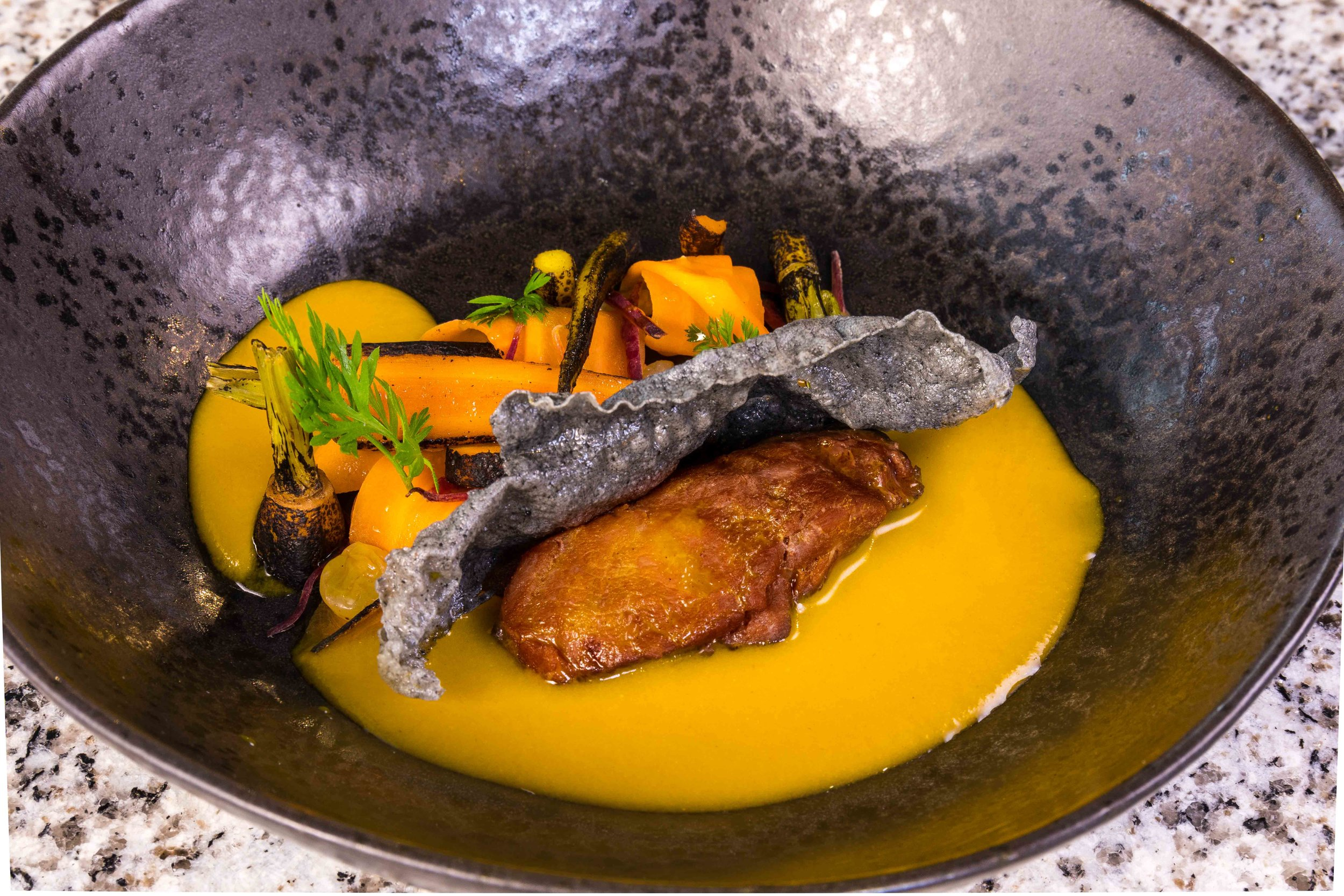 Pork Cheek, Curry, Carrot Veloute