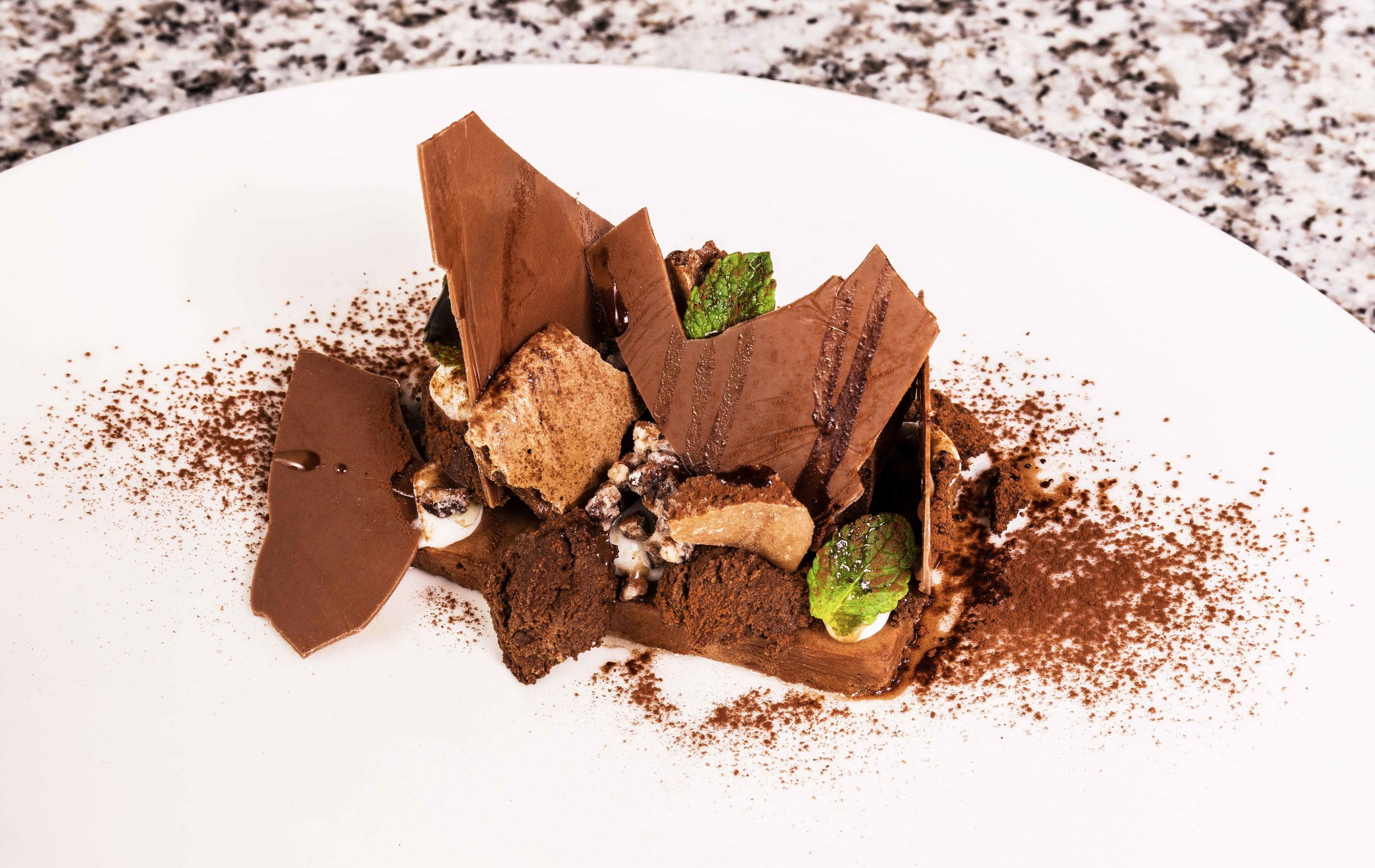 Mint chocolate brownie, mousse, oil, parfait