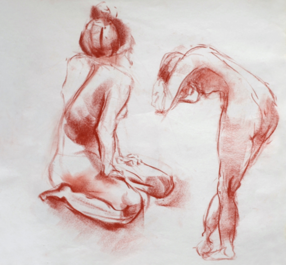 01 Manning, Kathleen, Two Females Gesture Drawing, 17x19.jpg