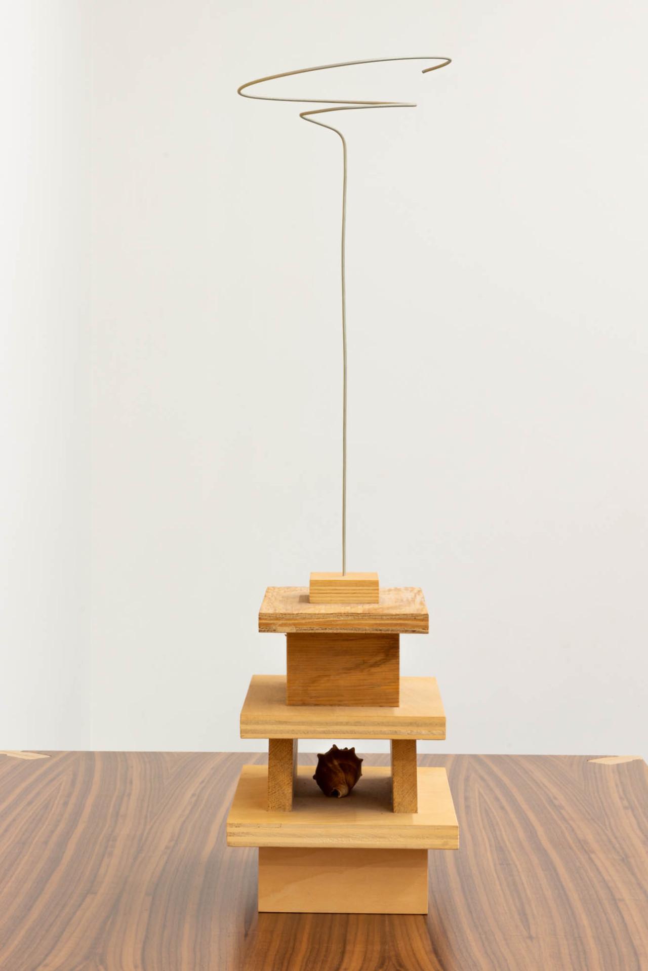 Miduny,  MiMi table , Canaletto walnut, furniture grade birch plywood and orange paint; B. Wurtz,  Untitled , wood, can, shell, wire. Photo: Yael Eban.