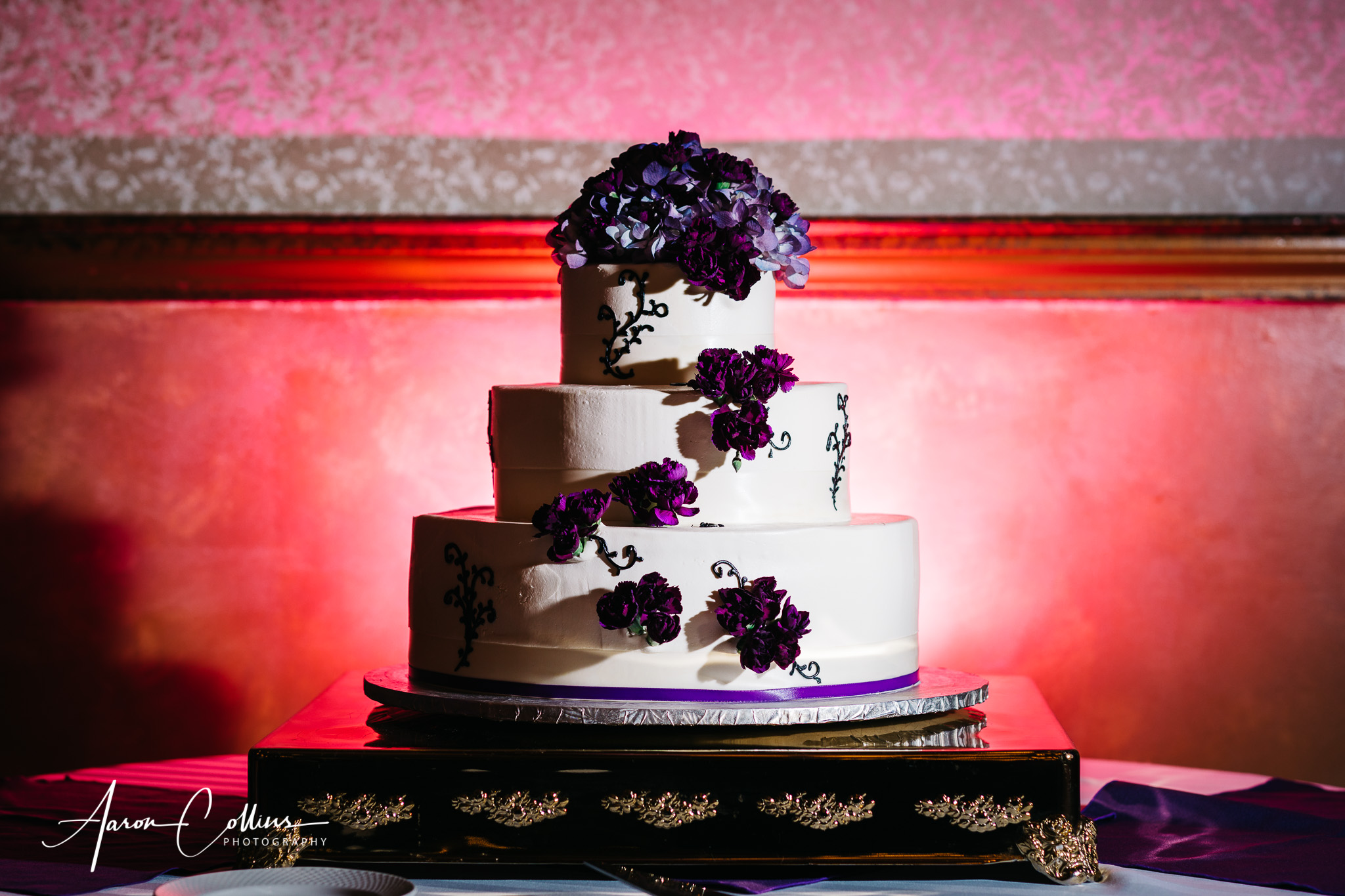 Cakes By Donna wedding cake seen here with some creative off-camera lighting for dramatic effect.