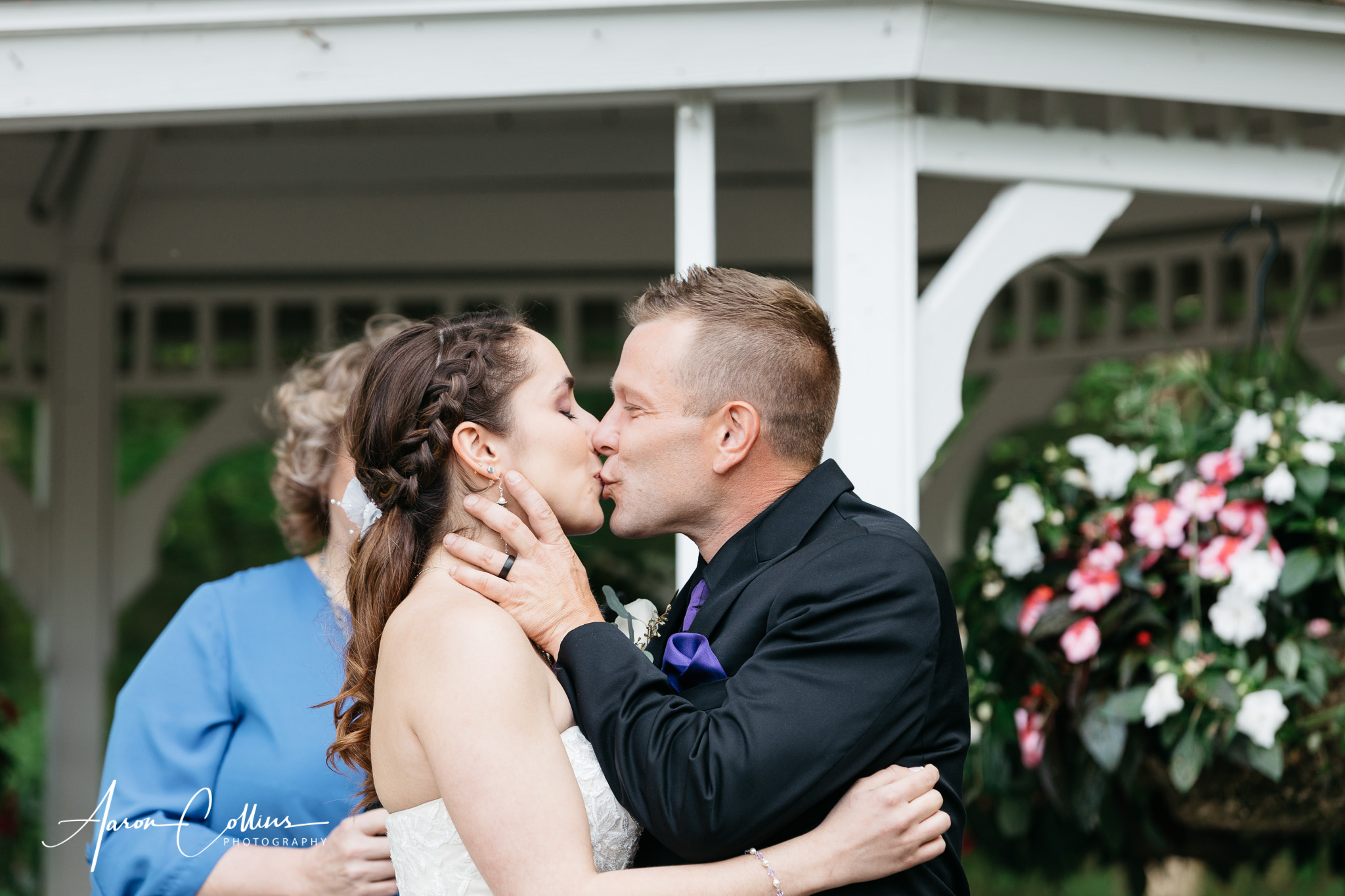 You may kiss the bride! First kiss.