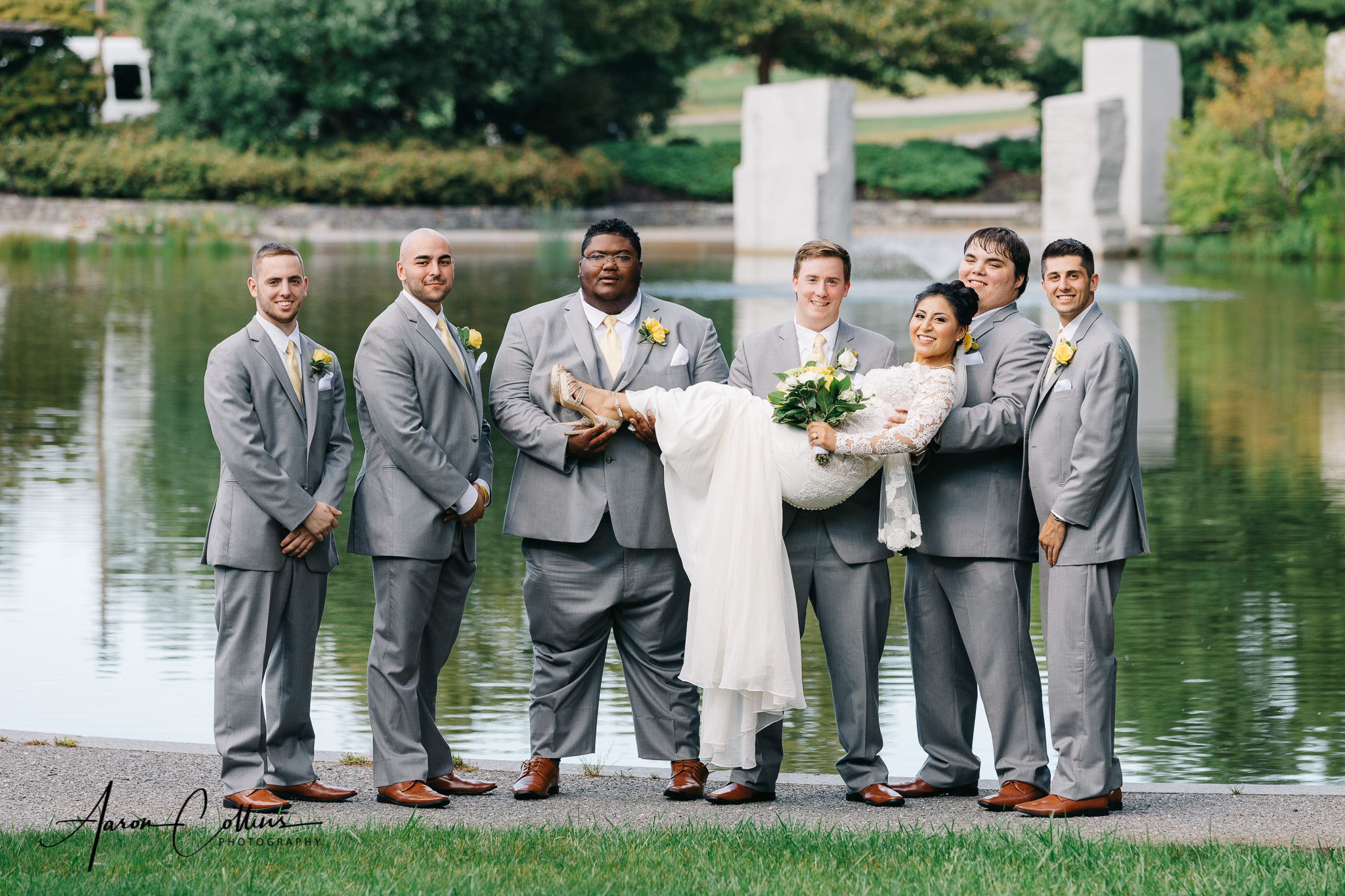 Groomsmen and bride wedding portrait at Green Hill Park in Worcester