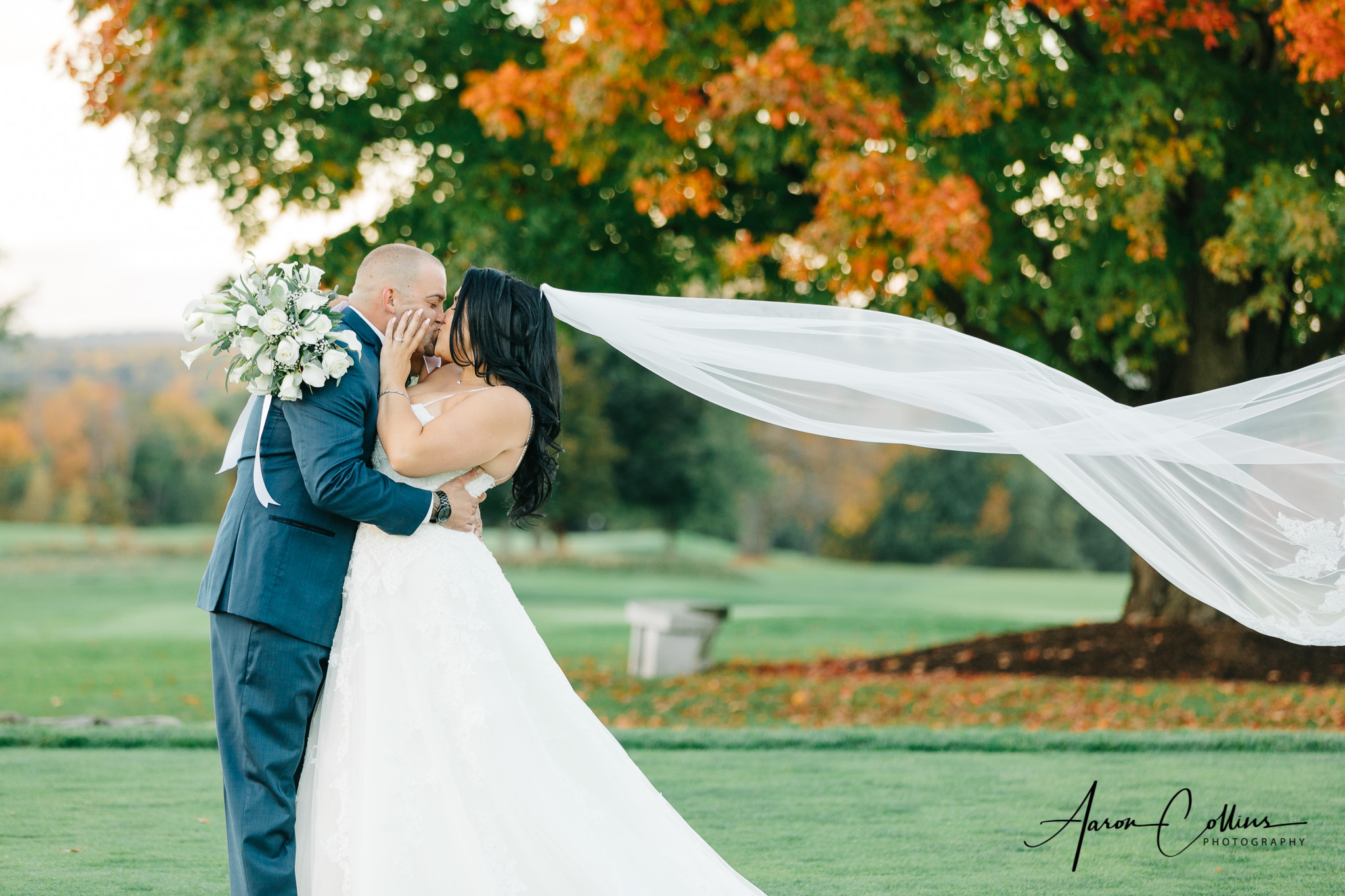 The bride's veil flowing in the wind while she embraces her new husband with a passionate kiss, with fall foliage on full display at Oak Hill Country Club in Fitchburg..