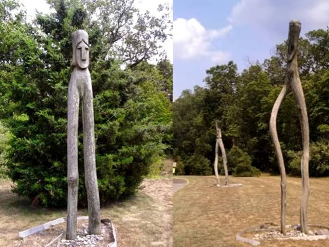 Possibly Native American statues of the Nightcrawlers.