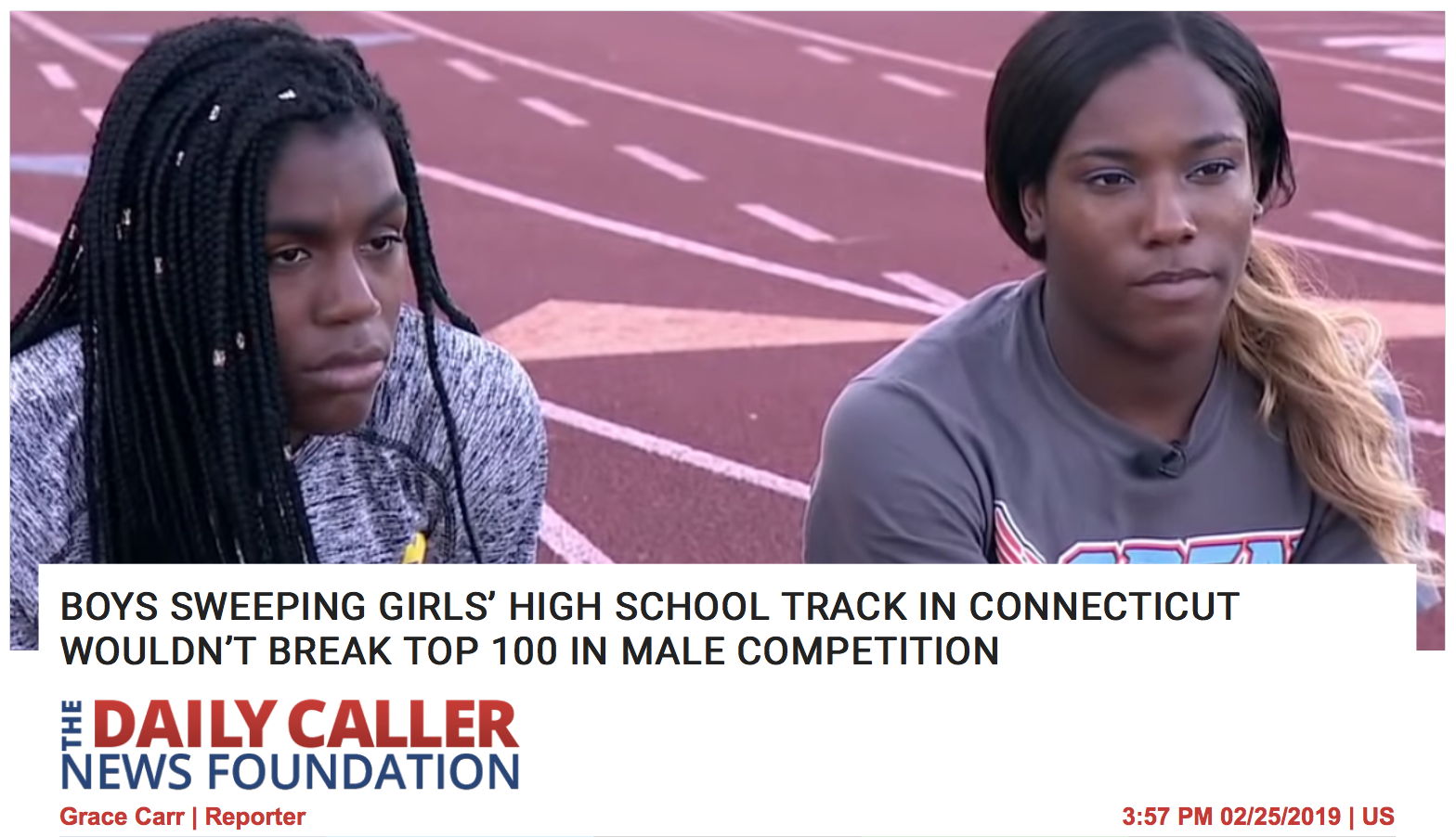 ( Daily Caller  headline) BOYS SWEEPING GIRLS' HIGH SCHOOL TRACK IN CONNECTICUT WOULDN'T BREAK TOP 100 IN MALE COMPETITION