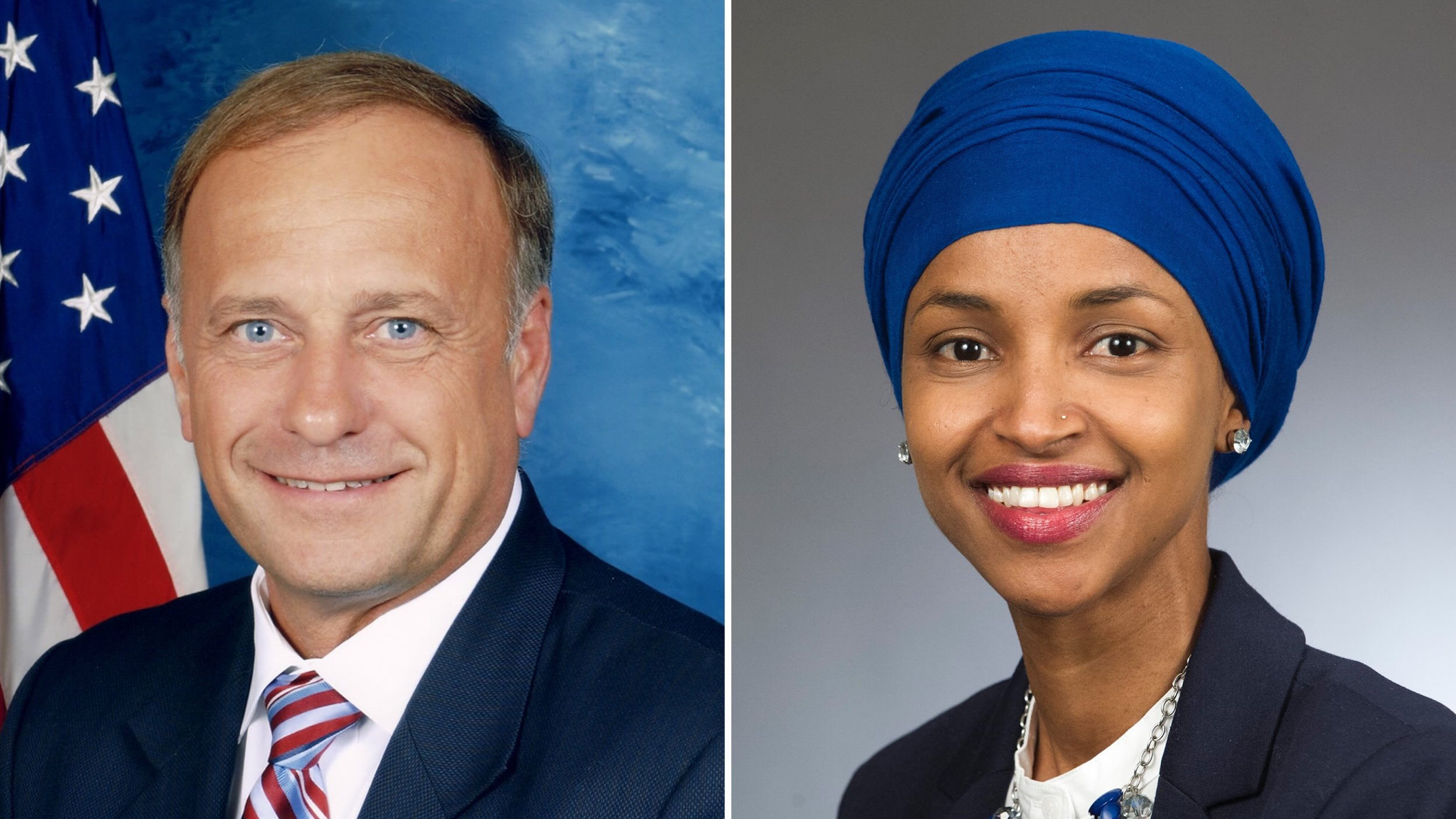 Rep. Steve King (R-Iowa) and Rep. Ilhan Omar (D-Minnesota)