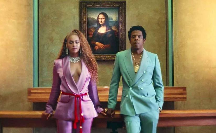 "( FromTheGrapevine ) YouTube screenshot of Jay-Z and Beyoncé in The Carters music video ""APES**T"""