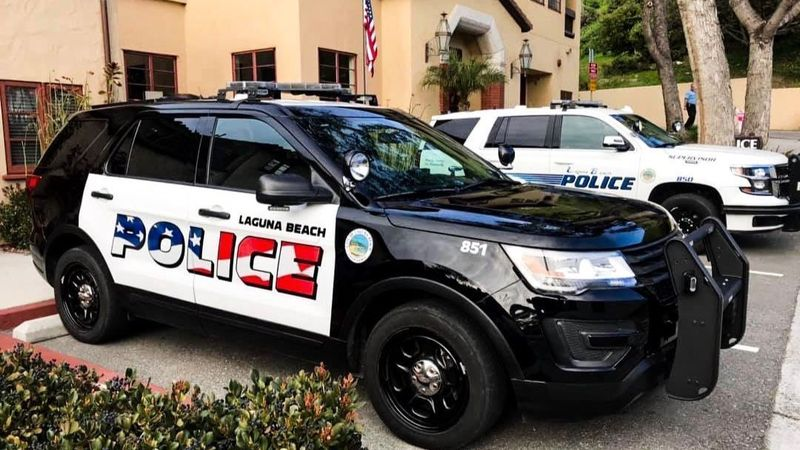 ( L.A. Times ) The flag design on Laguna Beach police cars has stirred discussion about whether the new theme properly reflects the community. (Laguna Beach Police Department/Twitter page)