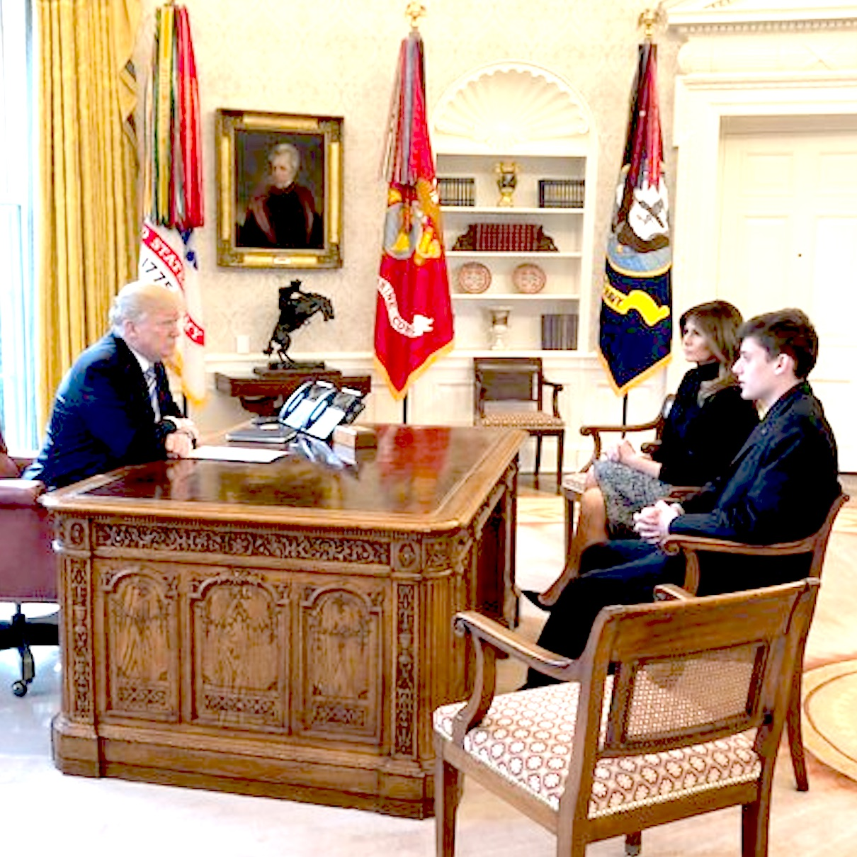 White House photo of Kyle Kashuv meeting with President Trump and First Lady Melania.