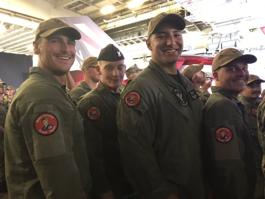 Photos of Airmen wearing MAGA-inspired Make Aircrew Great Again patches with the president on them, photos from WSJ WH reporter  Vivian Salama @vmsalama on Twitter