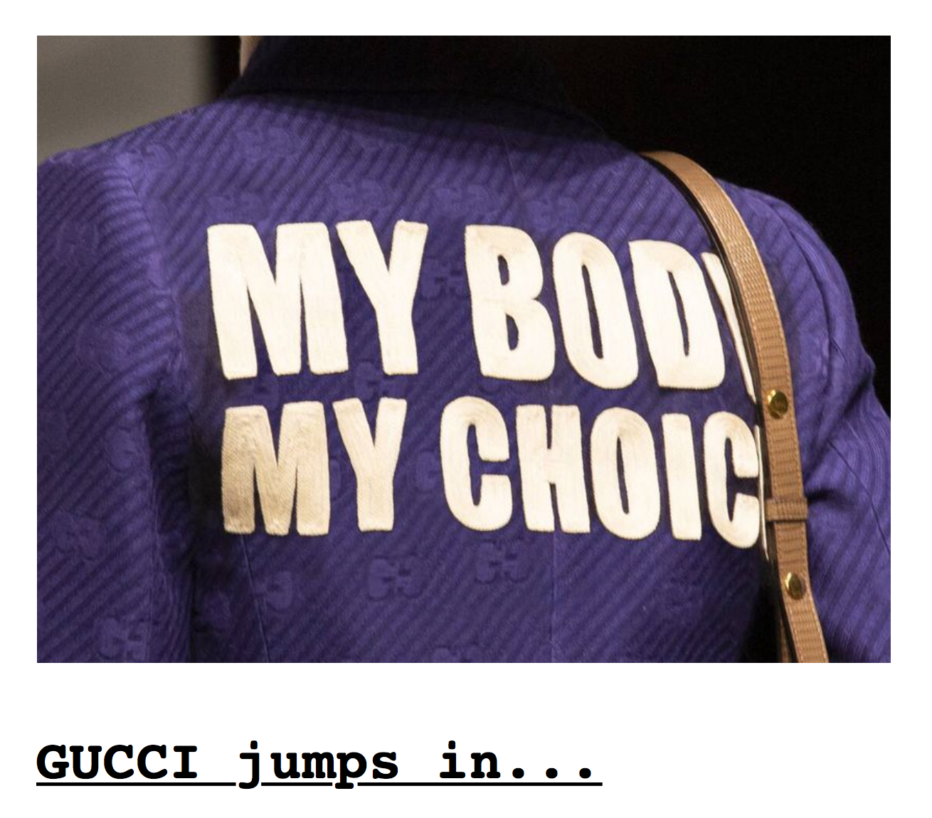 Screenshot from Drudge Report  http://drudgereport.com  with cropped photo courtesy of Gucci.  See photo here .