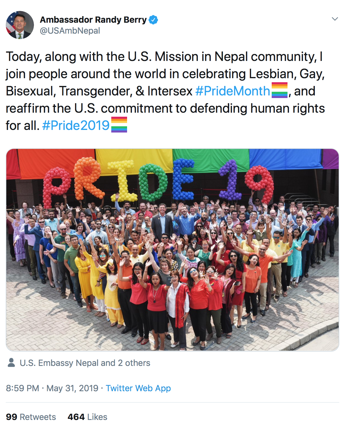 "A liberal politician pushes homosexual ""Pride"" in tweet, despite State Dept. rejecting radical homosexuals' rainbow flag being flown at embassies."