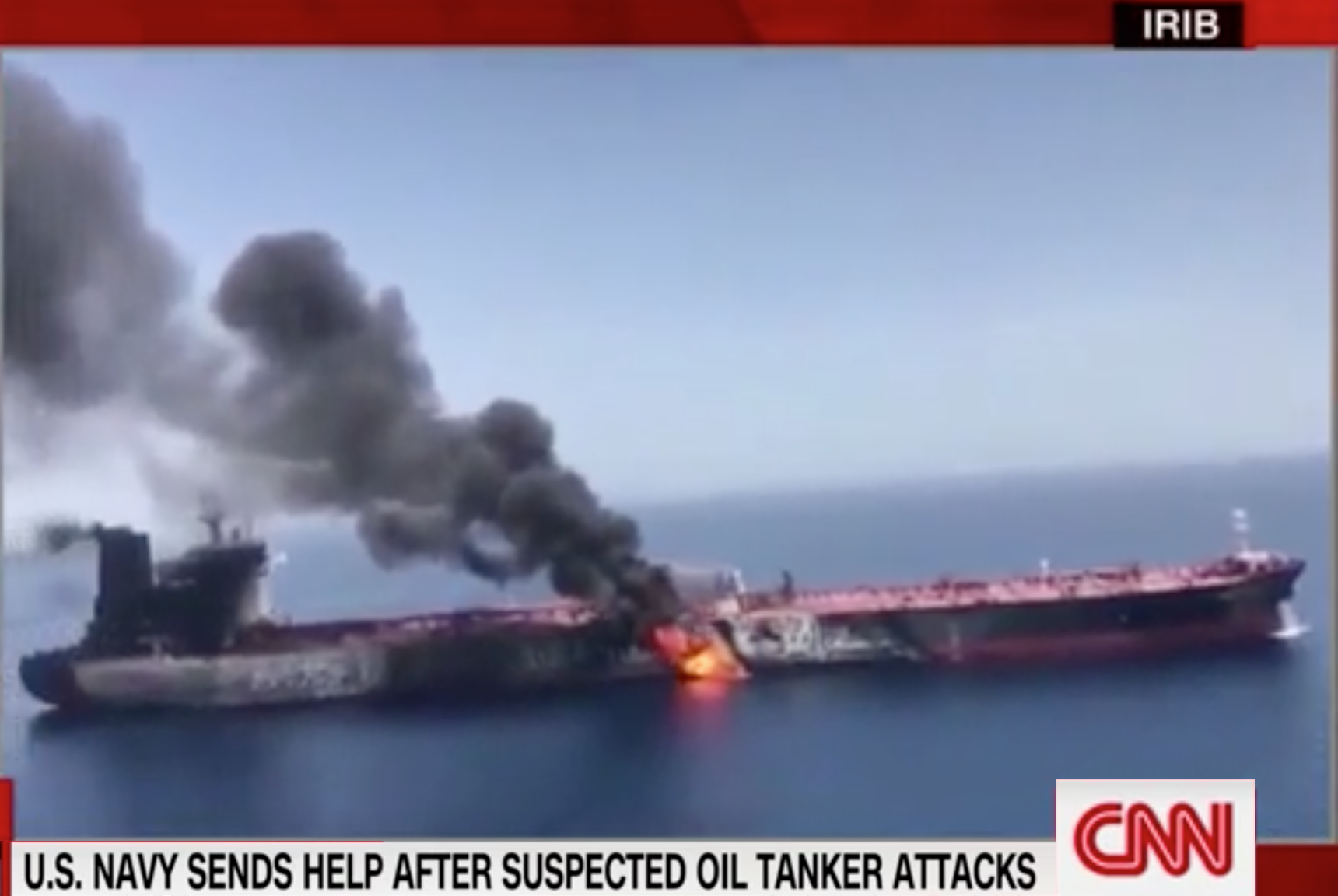 ( CNN ) Video shows fiery aftermath of suspected attack on tanker: Newly obtained footage shows one of two tankers that was purportedly attacked in the Gulf of Oman.