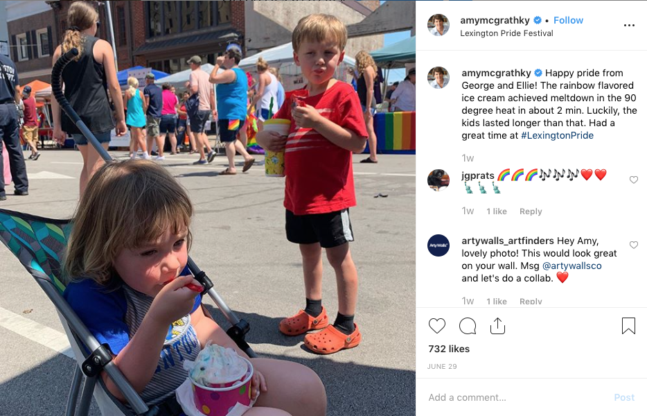 Instagram  post from former Marine, Pro-Gay Democrat Mother of Small Children Running Against Sen. Mitch McConnell in Kentucky. Amy McGrath. SMH.