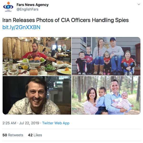 Tweet  from Iranian Fars News Agency in English: Iran Releases Photos of CIA Officers Handling Spies (article link:  https://bit.ly/2GnXXBN )