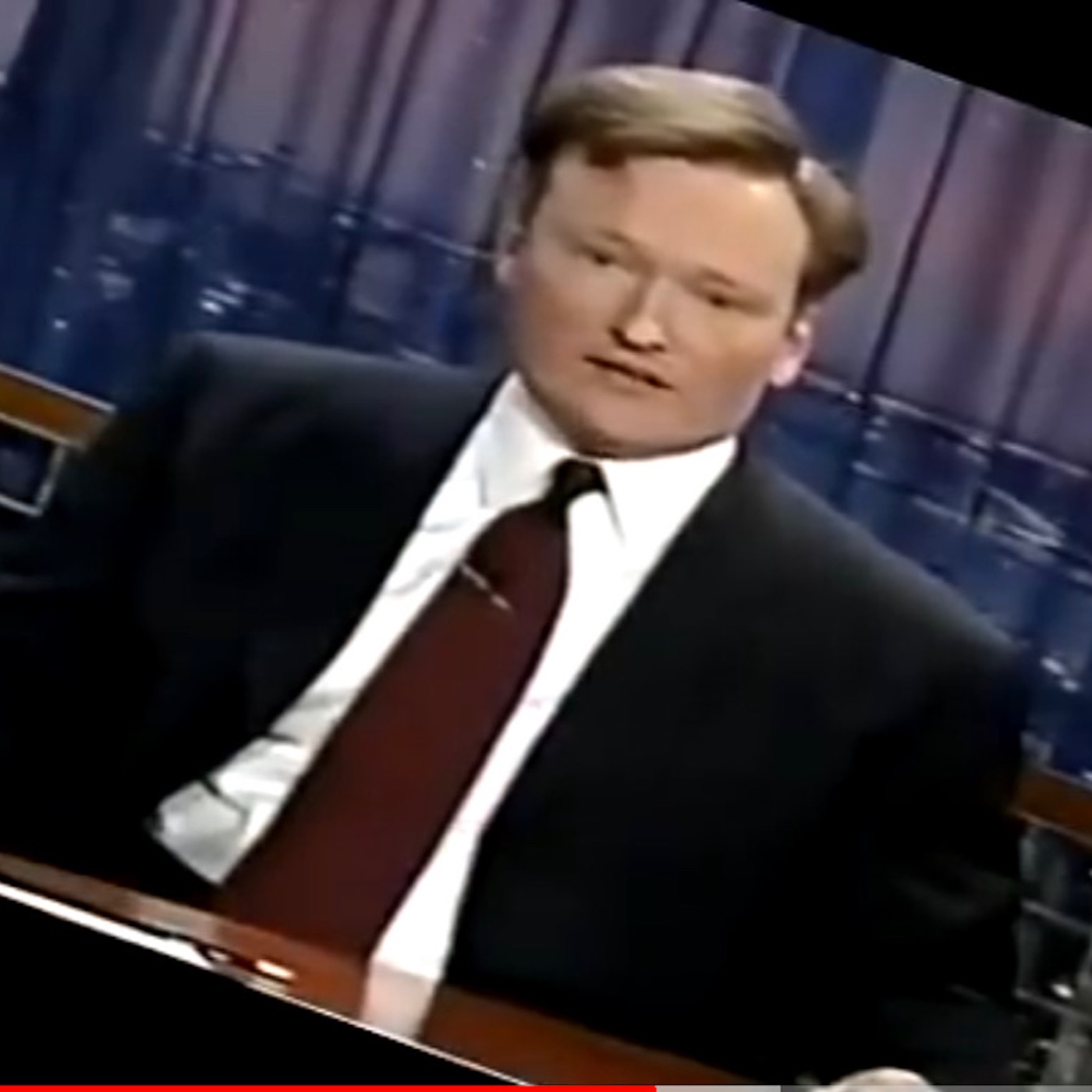 Square thumbnail from today's show, Sunday, July 28, 2019, depicting a screenshot from a  YouTube video  of Conan O'Brien (sp?) in his first show monologue after the 9/11/01 terror attacks.