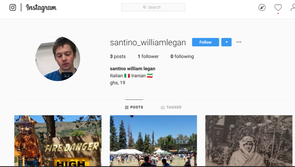 Heavy  has screenshots from the Instagram account of the deceased suspected 19-year-old killer
