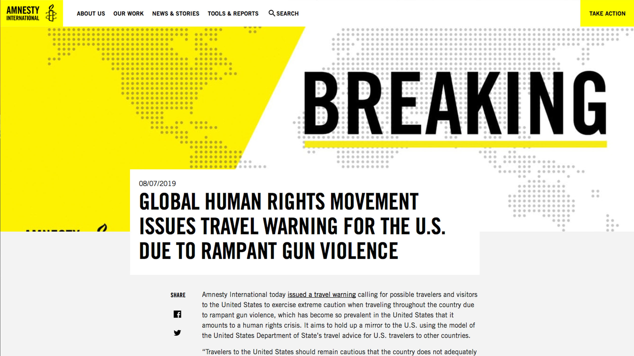 "Anti-gun extremist liberal group Amnesty International smears the United States with travel warning, offering the meaningless statement, ""a guarantee of not being shot is impossible."""