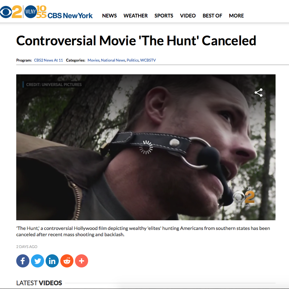 "Headline from  CBS New York  on ""The Hunt"" being cancelled"