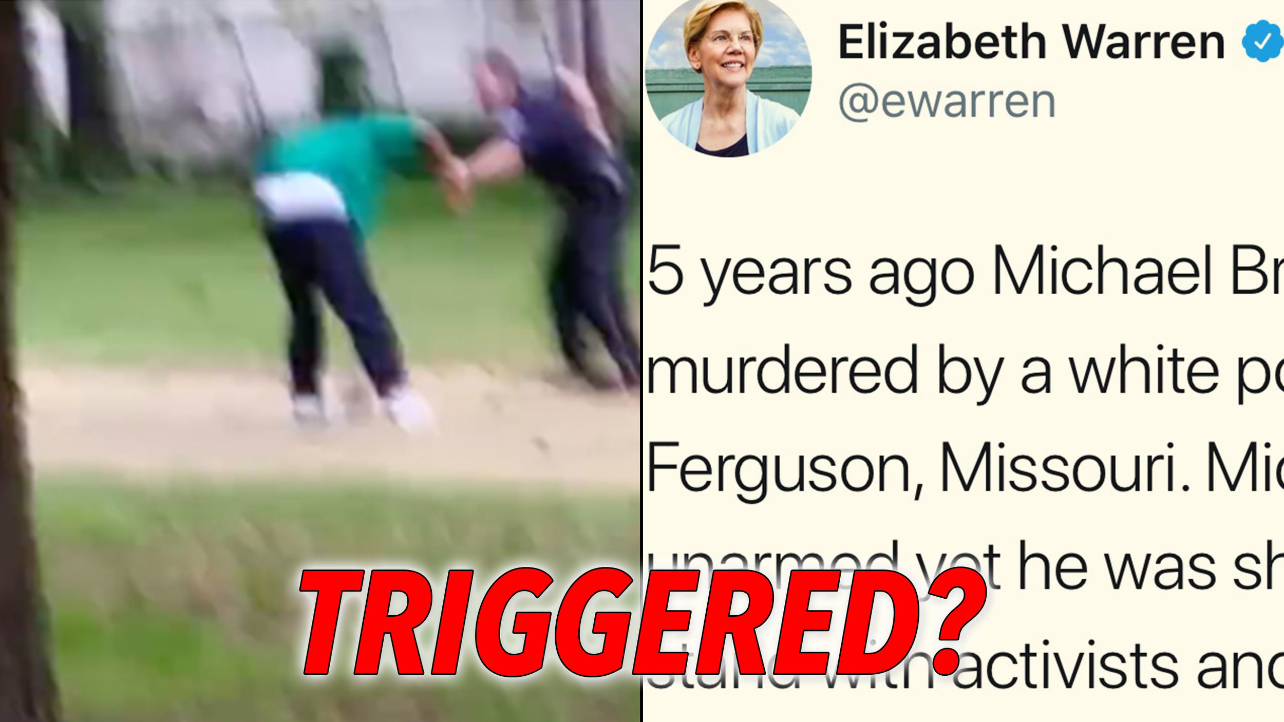 """Triggering"" incidents: Black criminal Walter Scott fighting off then-Officer Michael Slager before being shot in the back and killed. Elizabeth Warren tweets out a libelous lie saying Michael Brown was ""murdered"" by a white police officer in Ferguson, MO, four years after evidence came out showing the killing was in self-defense."