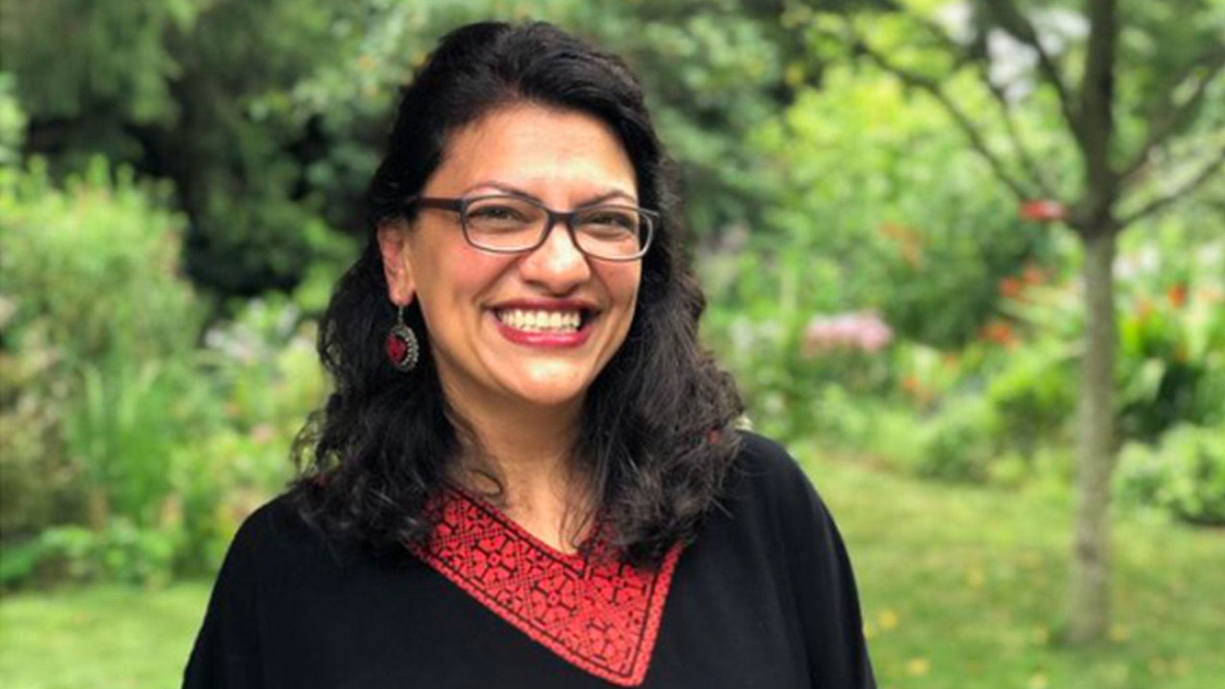 "Cropped version of photo of Rashida Tlaib shared on her  Twitter , saying ""This is what America looks like…"""