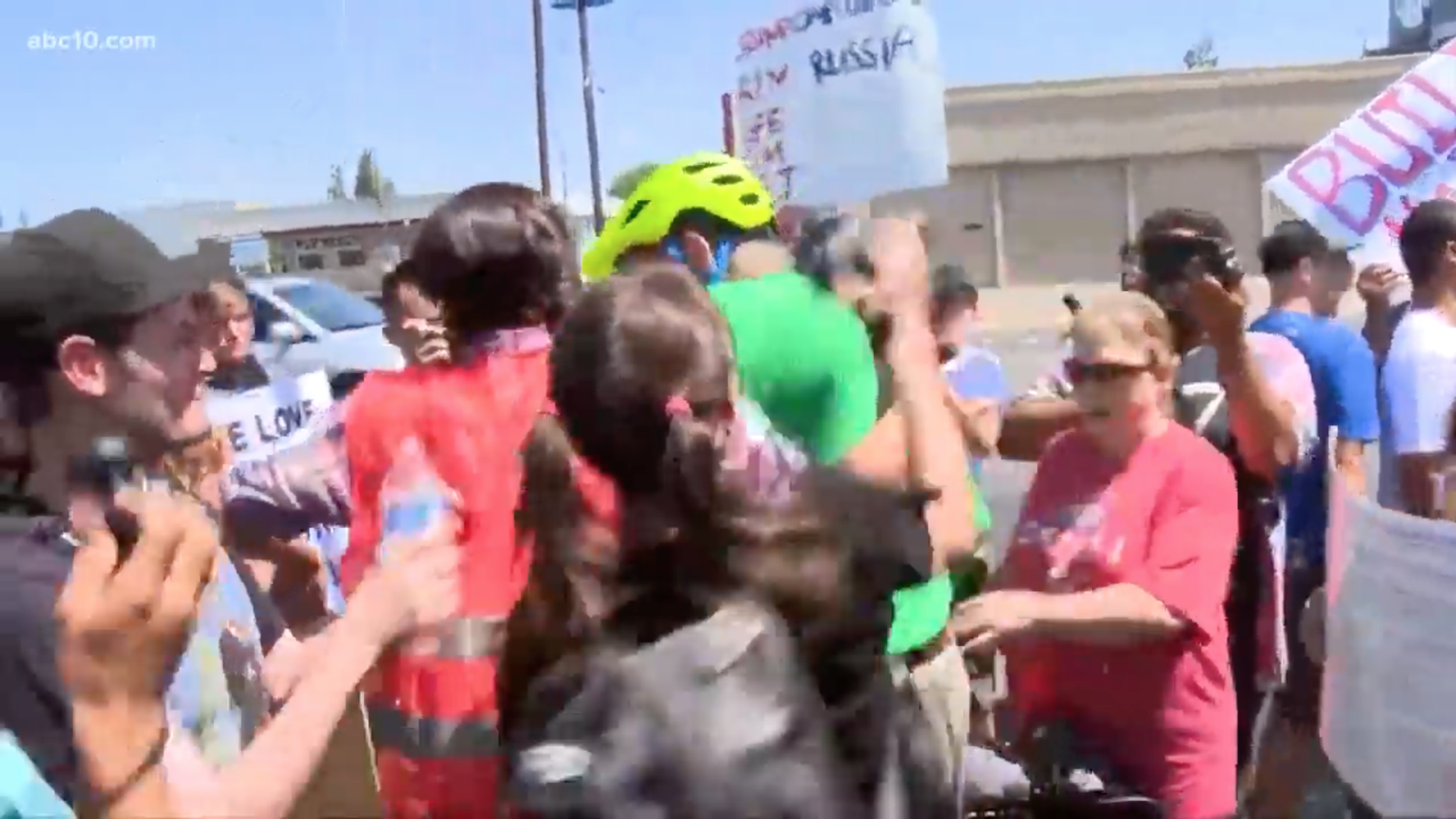 Far-left Antifa supporter and radical LGBTQ agitator who calls himself Sabine Tischler is  seen assaulting  an elderly man who was pushed off his bicycle by the violent leftists protesting Straight Pride, Modesto, CA.