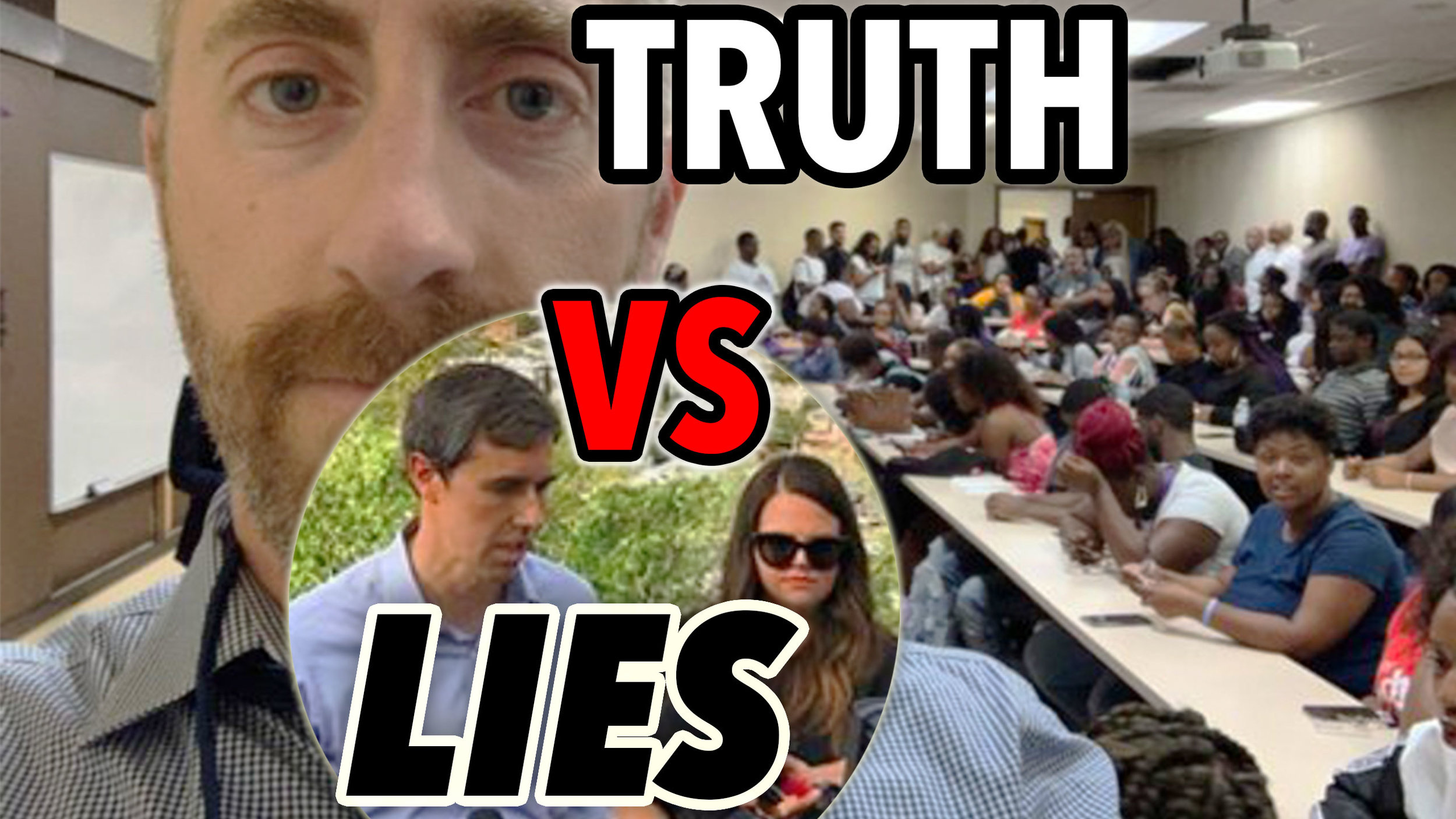 """Background image: Breitbart reporter Joel Pollak at a Historically Black College, where he got kicked out of a Beto O'Rourke campaign event, under the pretense that they wanted to """"protect"""" the """"people of color"""" from him."""