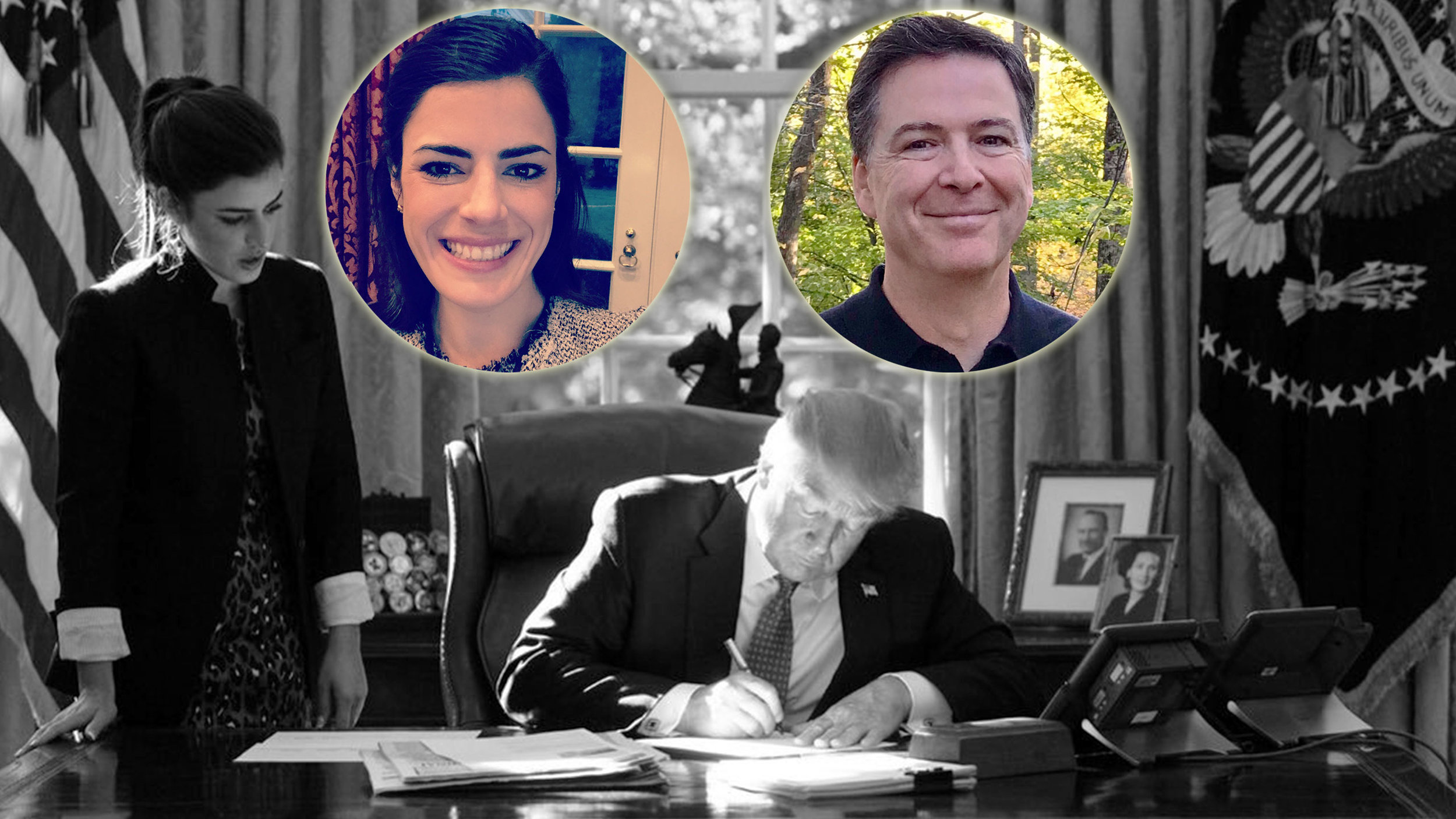 Trump's working and they're leaking! Photographed: Leakin' James Comey and reported Oval Office leaker Madeleine Westerhout!