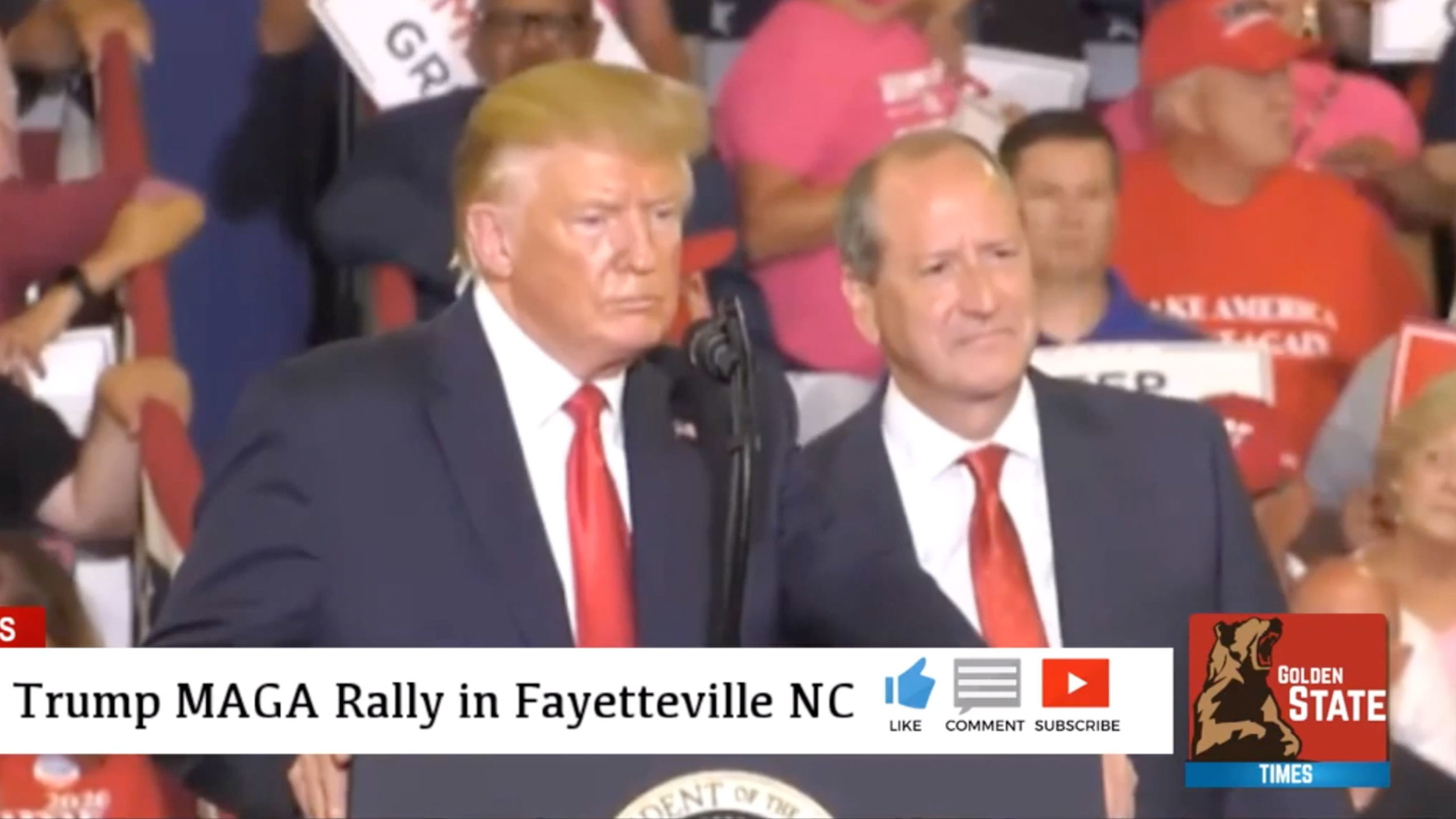 Screenshot from Golden State Times video of President Trump's rally for Republican Dan Bishop in Fayetteville, NC, where there's a special election.