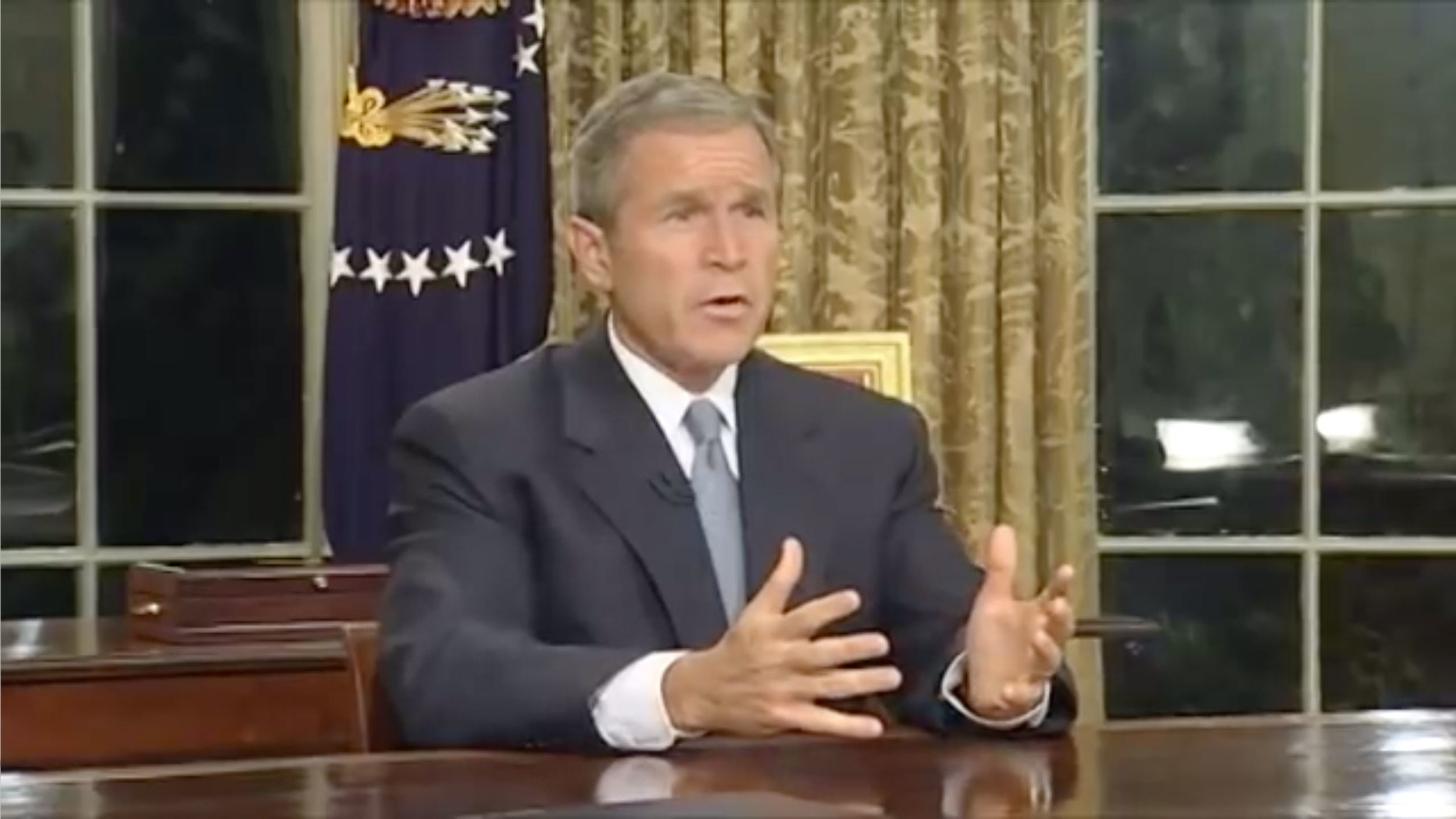 ( American Rhetoric ) Screenshot from President George W. Bush's  video address to the nation  on 9/11/01.