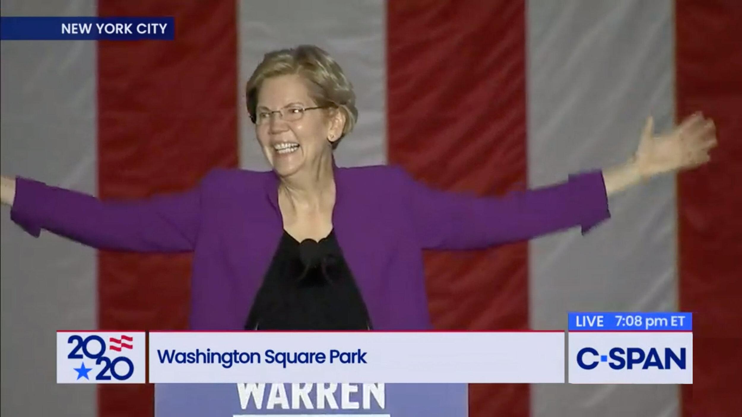 Screenshot from  C-SPAN : Senator Elizabeth Warren Speech in Washington Square Park