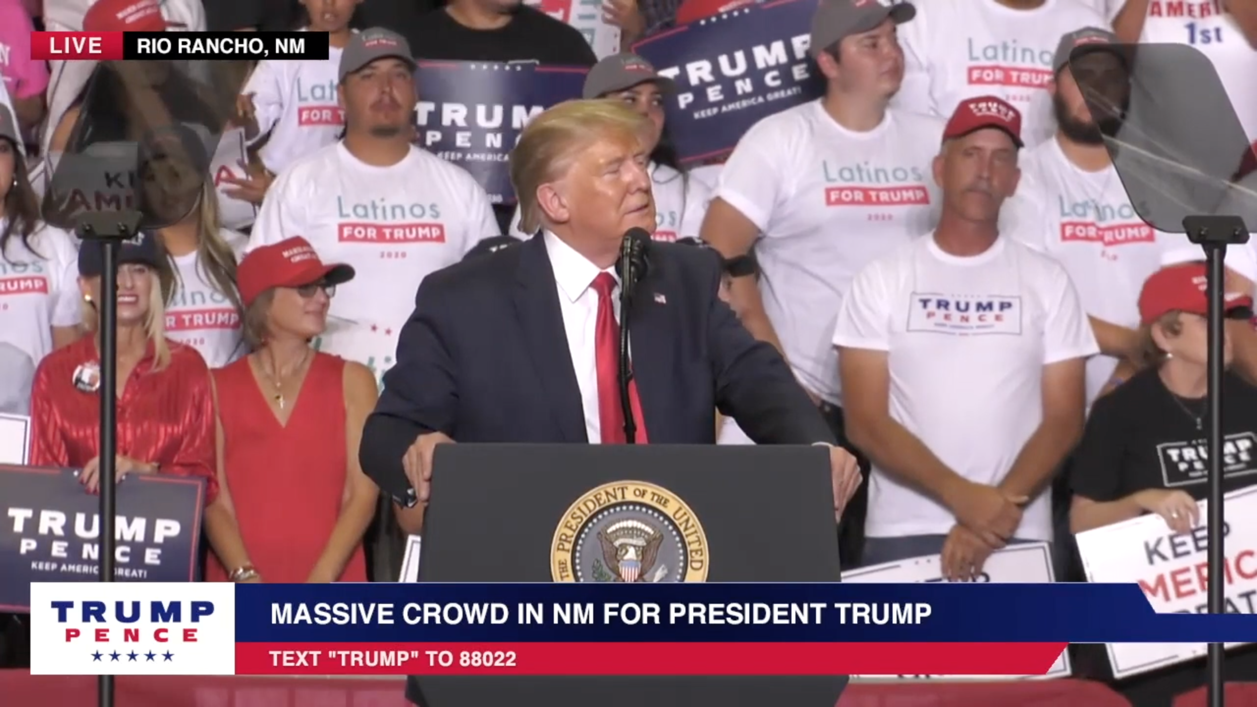 Screenshot from  Trump's rally in Rio Rancho, New Mexico , from  Donald J Trump YouTube channel