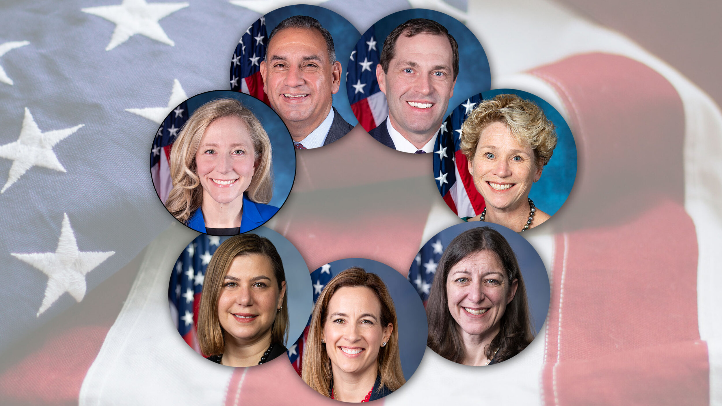 """Seven Democrats, mostly female, sign-onto an op-ed in Washington Post (where """"Democracy Dies in Darkness"""") pretending to care about national security and the Constitution in criticizing Trump for some stupid accusations against him. See story above. Names (from top left): Gil Cisneros, Jason Crow, Chrissy Houlahan, Elaine Luria, Mikie Sherrill, Elissa Slotkin and Abigail Spanberger"""
