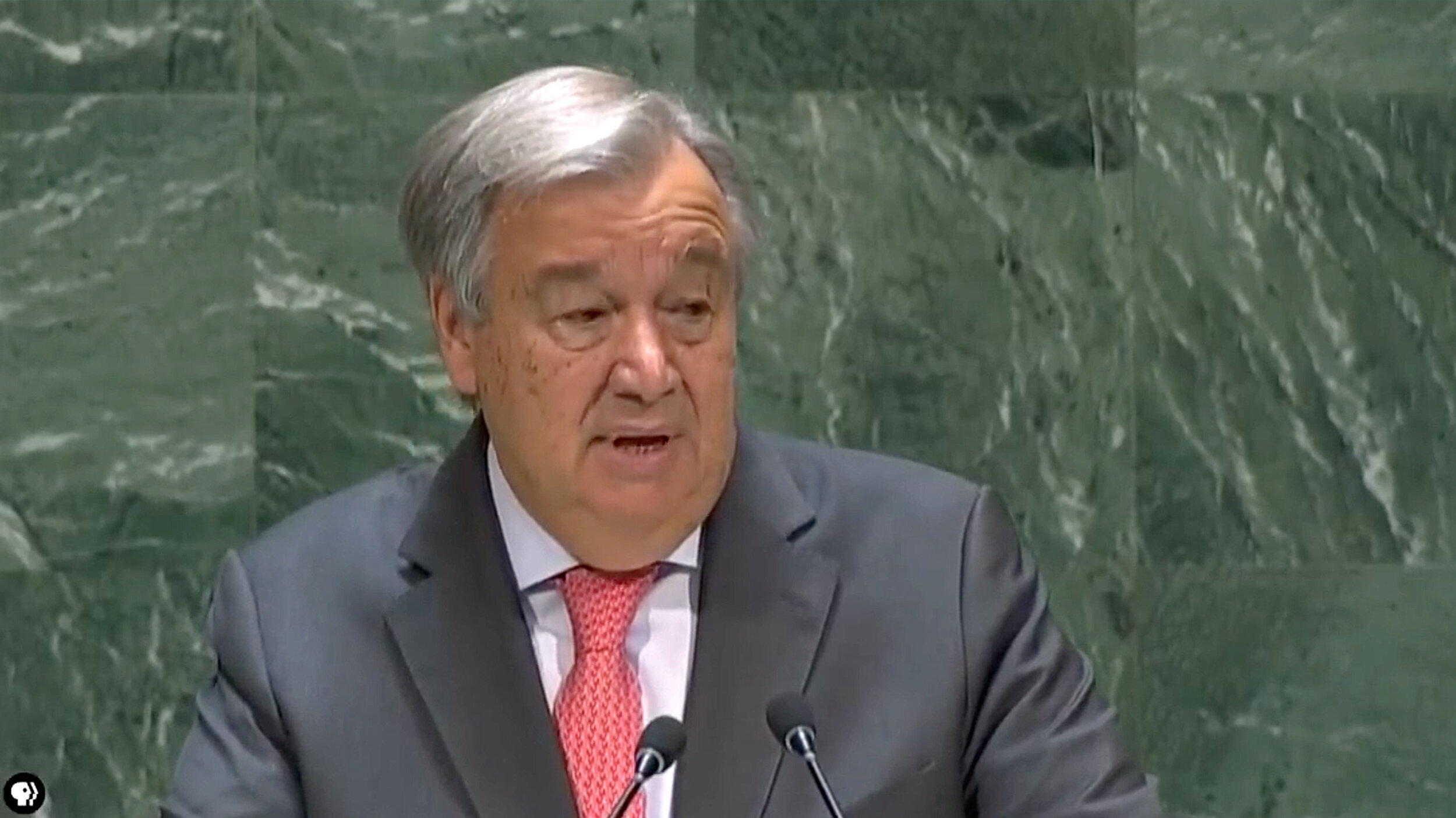 """United Nations (UN) Secretary-General Antonio Guterres, a Socialist from Portugal, is fighting against """"populism,"""" for feminism and globalism. (Cropped screenshot from  PBS NewsHour YouTube video )"""