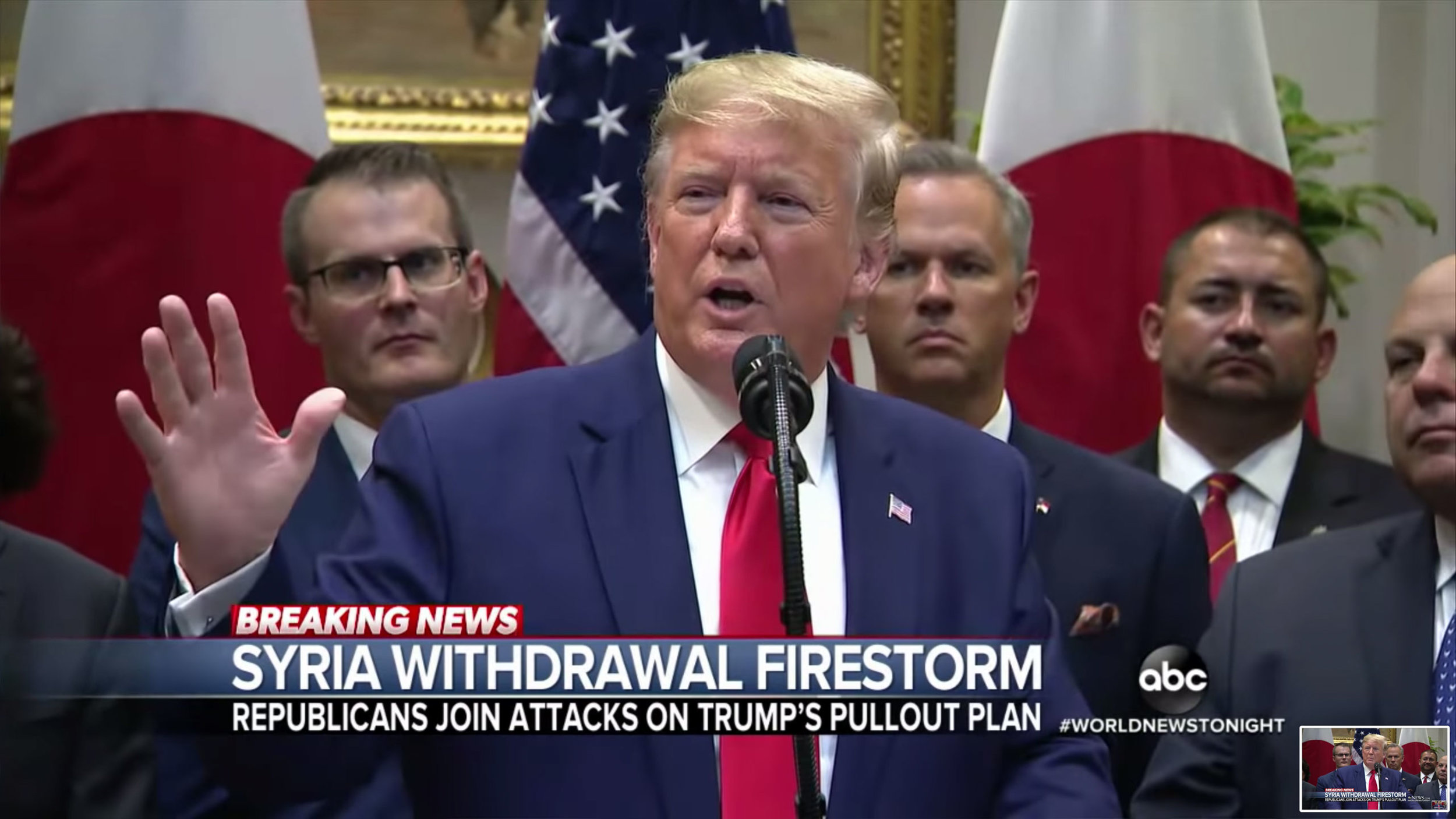 Screenshot of President Trump from  ABC News  propaganda against Syria's pullout